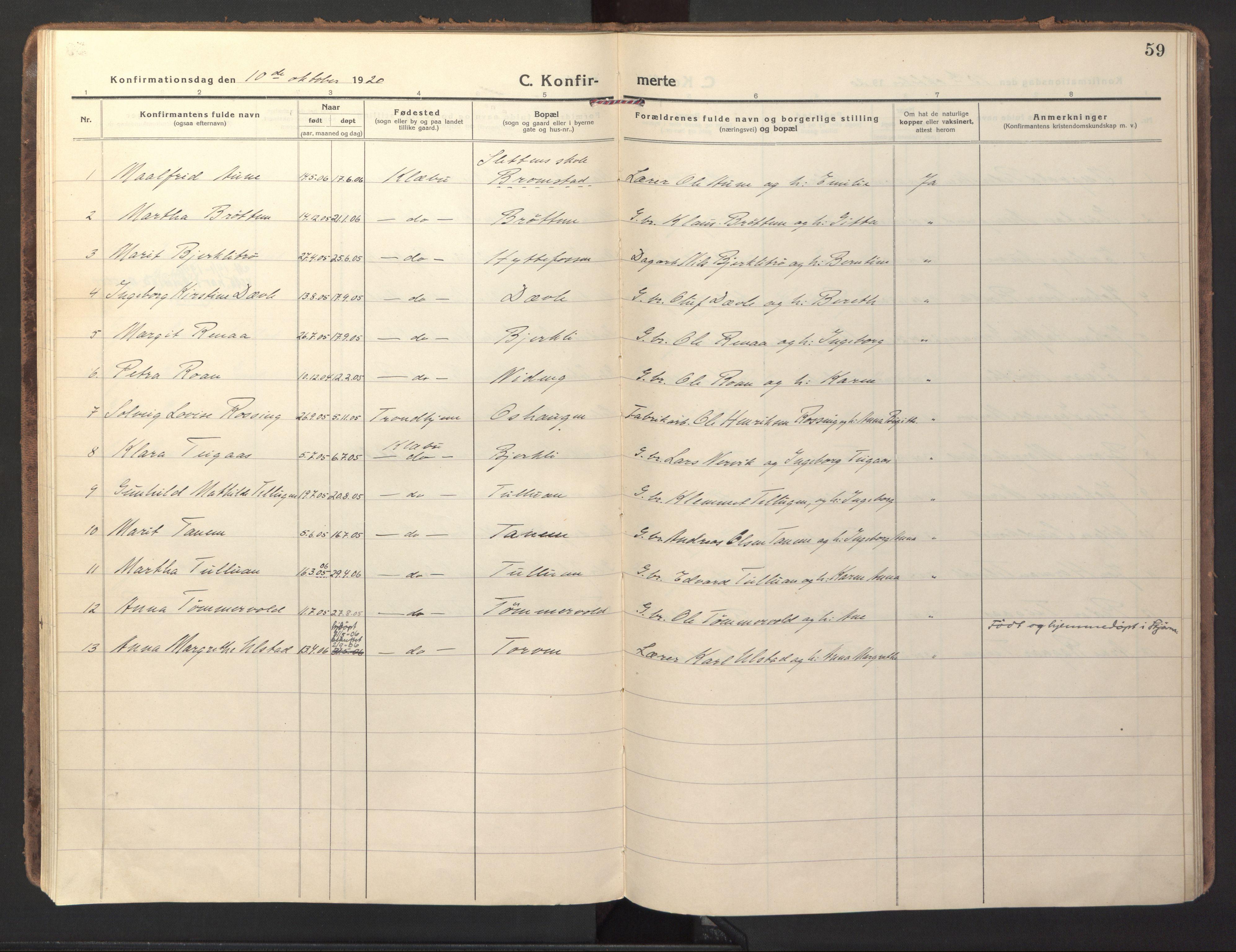SAT, Ministerialprotokoller, klokkerbøker og fødselsregistre - Sør-Trøndelag, 618/L0449: Ministerialbok nr. 618A12, 1917-1924, s. 59