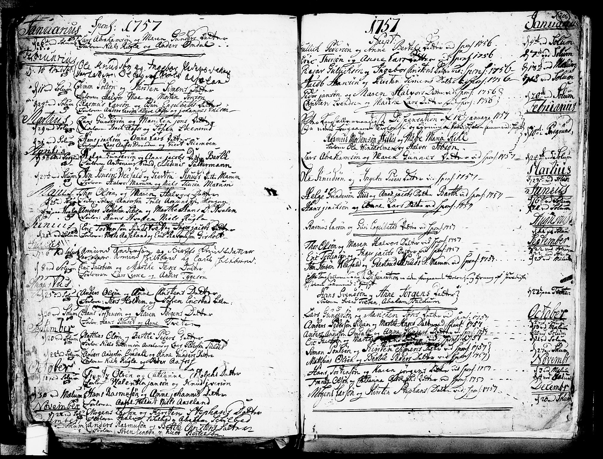 SAKO, Solum kirkebøker, F/Fa/L0002: Ministerialbok nr. I 2, 1713-1761, s. 206