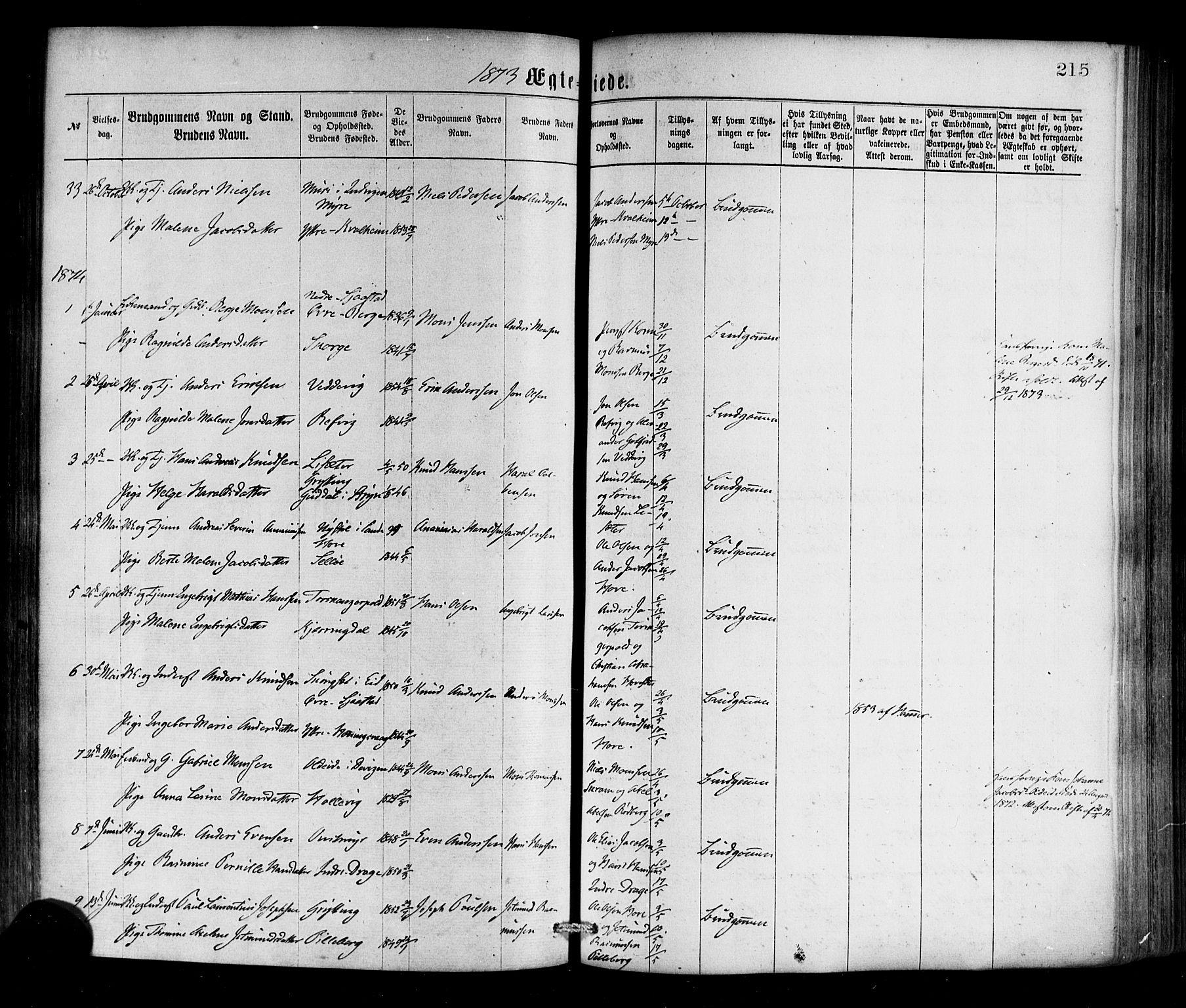 SAB, Selje sokneprestembete*, Ministerialbok nr. A 12, 1870-1880, s. 215