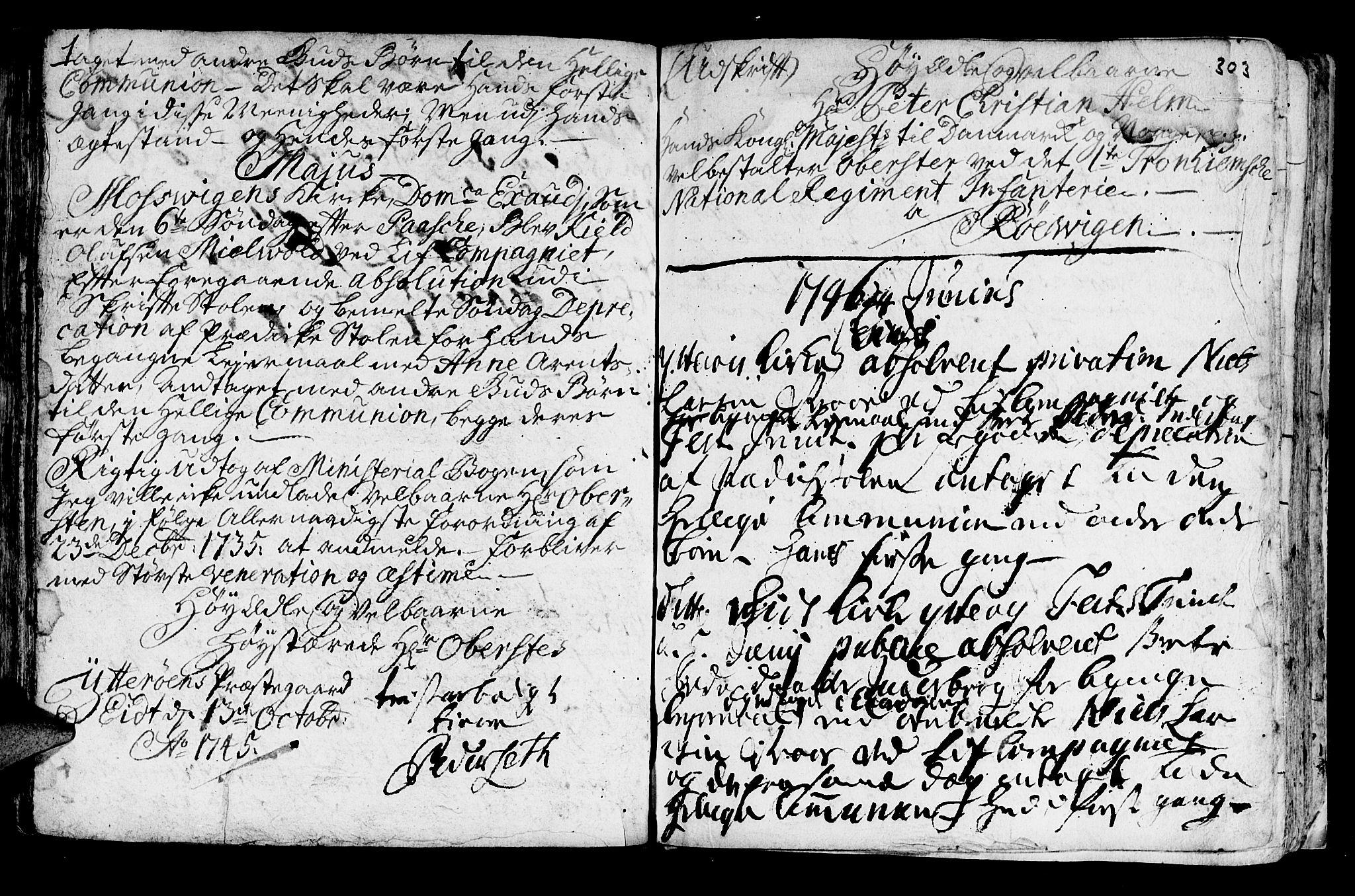 SAT, Ministerialprotokoller, klokkerbøker og fødselsregistre - Nord-Trøndelag, 722/L0215: Ministerialbok nr. 722A02, 1718-1755, s. 303