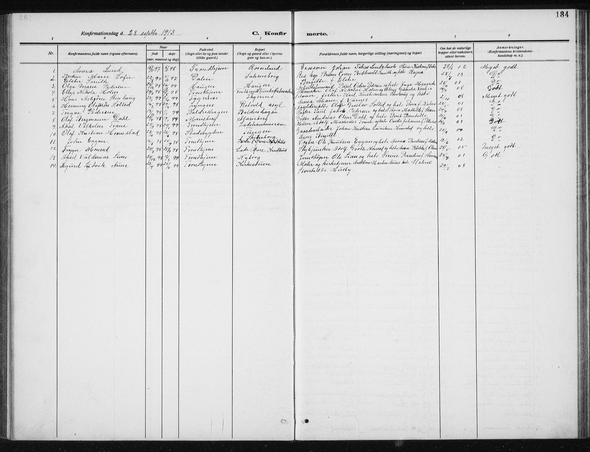 SAT, Ministerialprotokoller, klokkerbøker og fødselsregistre - Sør-Trøndelag, 606/L0314: Klokkerbok nr. 606C10, 1911-1937, s. 134