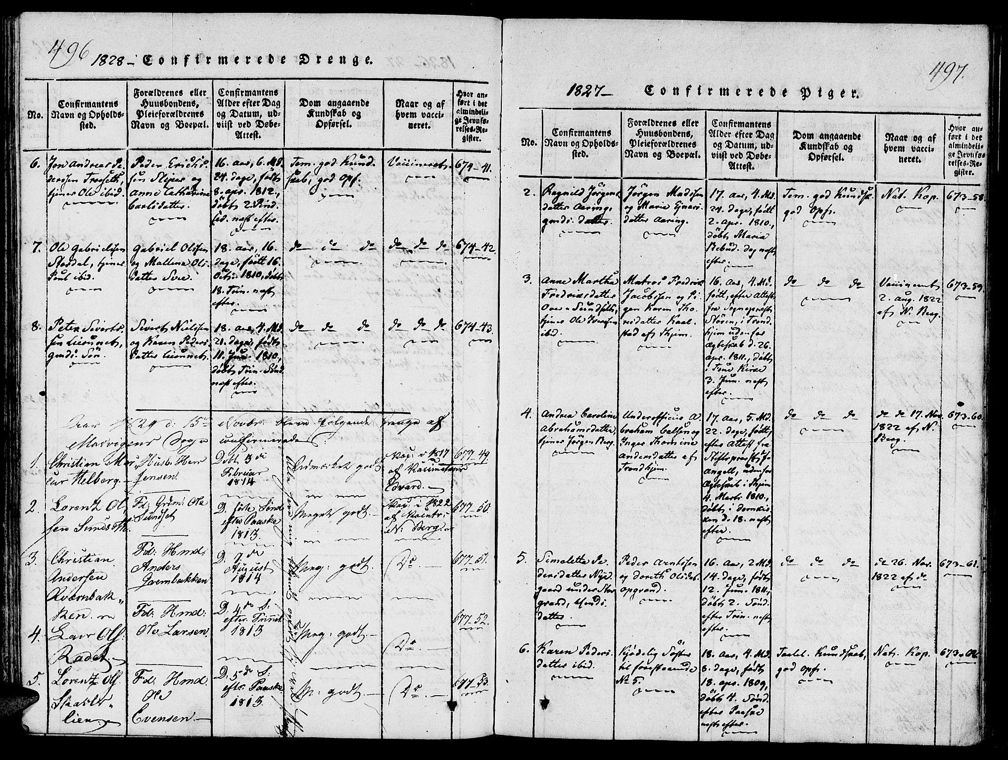 SAT, Ministerialprotokoller, klokkerbøker og fødselsregistre - Nord-Trøndelag, 733/L0322: Ministerialbok nr. 733A01, 1817-1842, s. 496-497