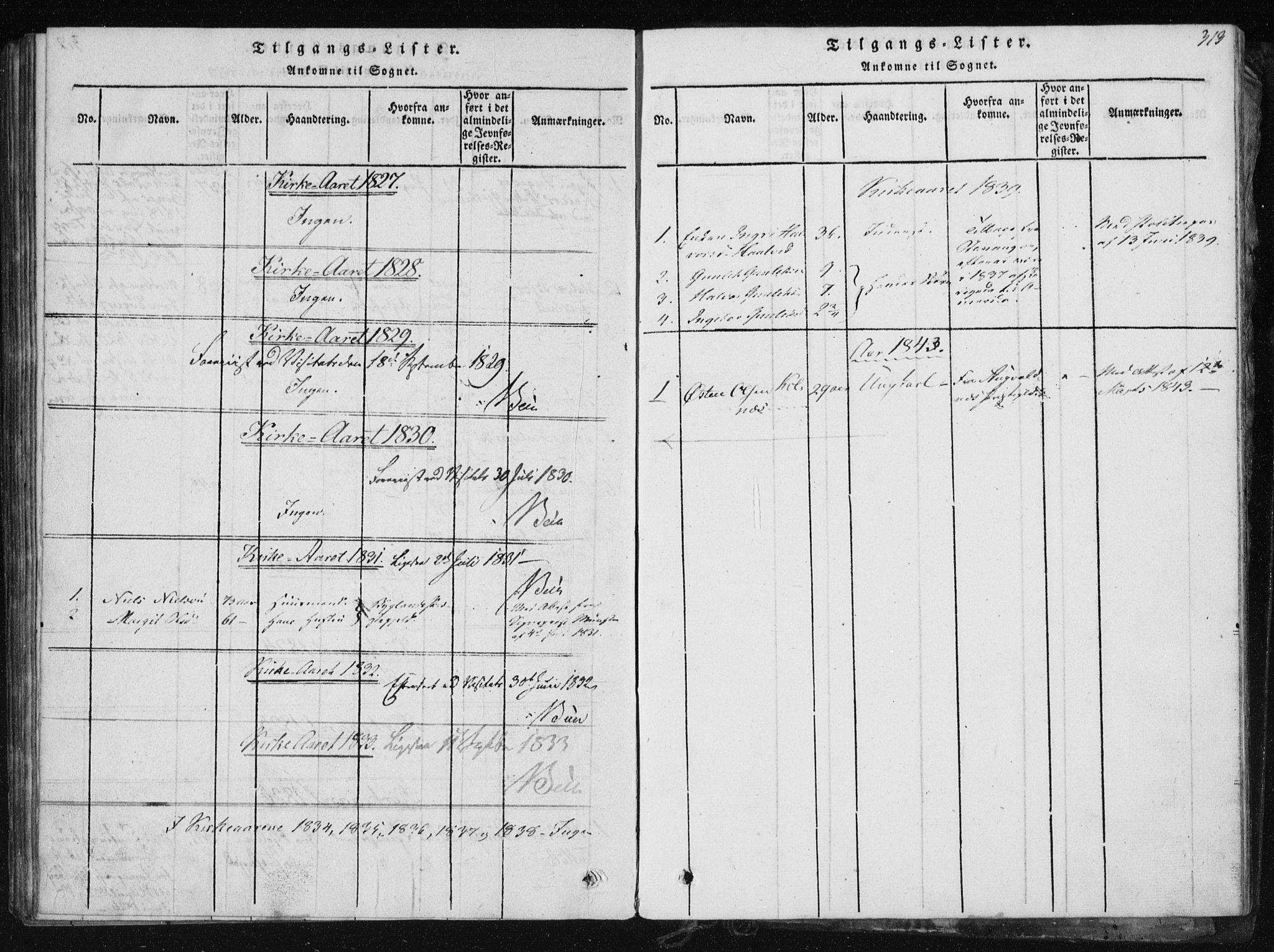 SAKO, Tinn kirkebøker, F/Fb/L0001: Ministerialbok nr. II 1, 1815-1843, s. 313