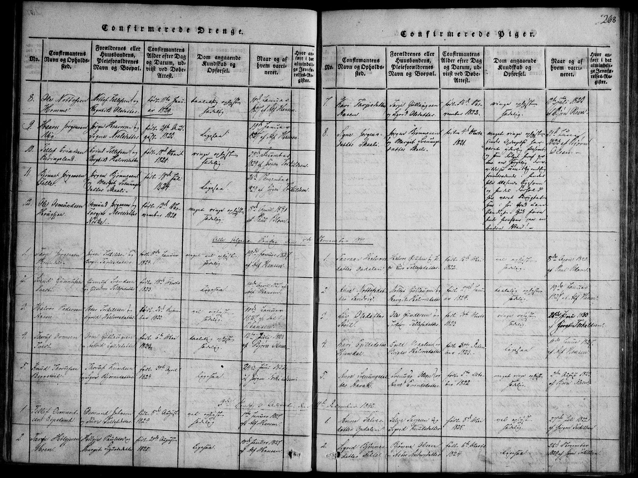 SAKO, Nissedal kirkebøker, F/Fb/L0001: Ministerialbok nr. II 1, 1814-1845, s. 268