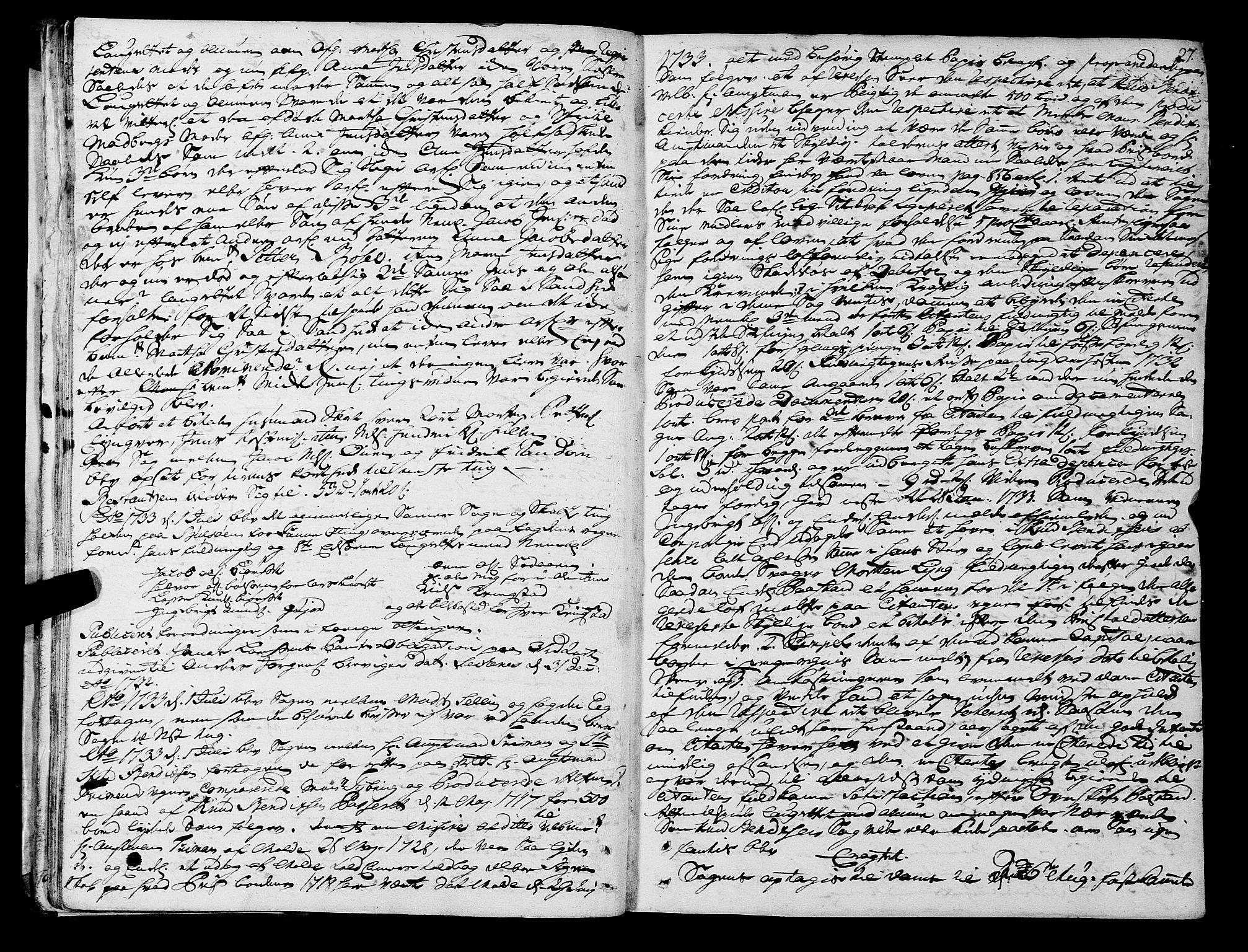 SAT, Romsdal sorenskriveri, 1/1A/L0011: Tingbok, 1732-1740, s. 26b-27a