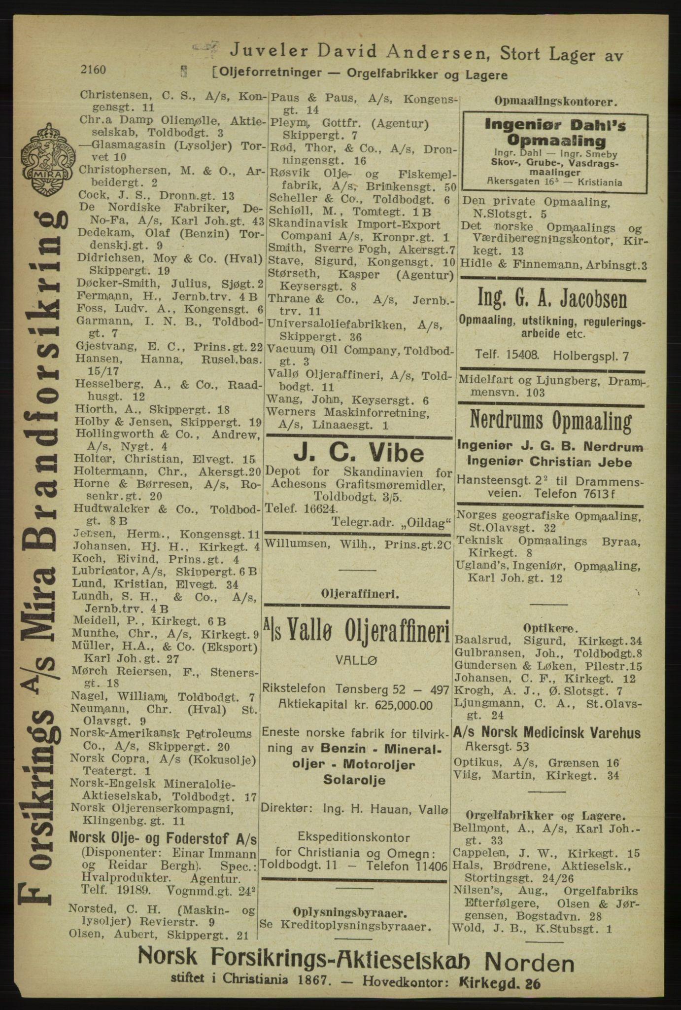 RA, Kristiania adressebok (publikasjon)*, 1918, s. 2160