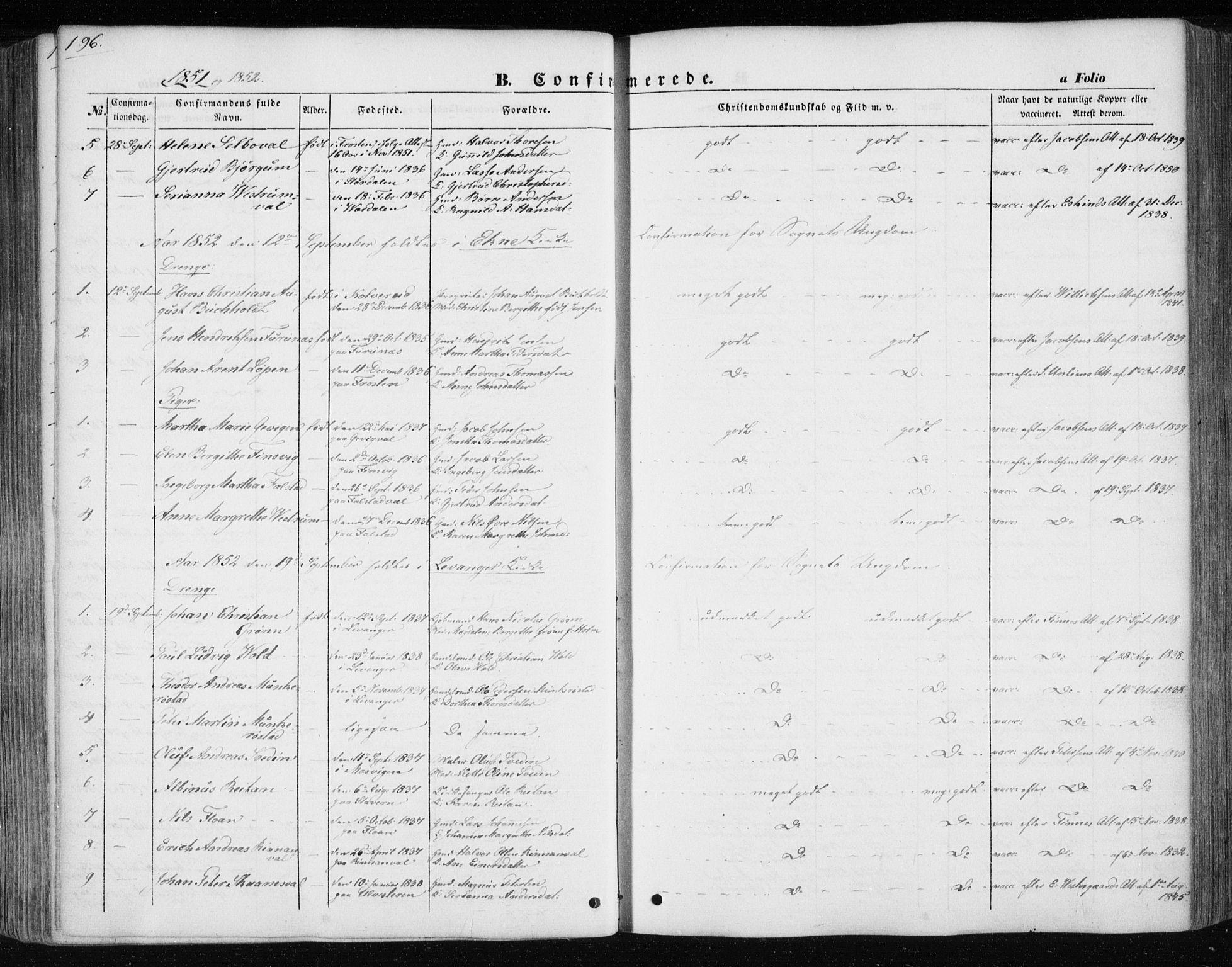 SAT, Ministerialprotokoller, klokkerbøker og fødselsregistre - Nord-Trøndelag, 717/L0154: Ministerialbok nr. 717A07 /1, 1850-1862, s. 196
