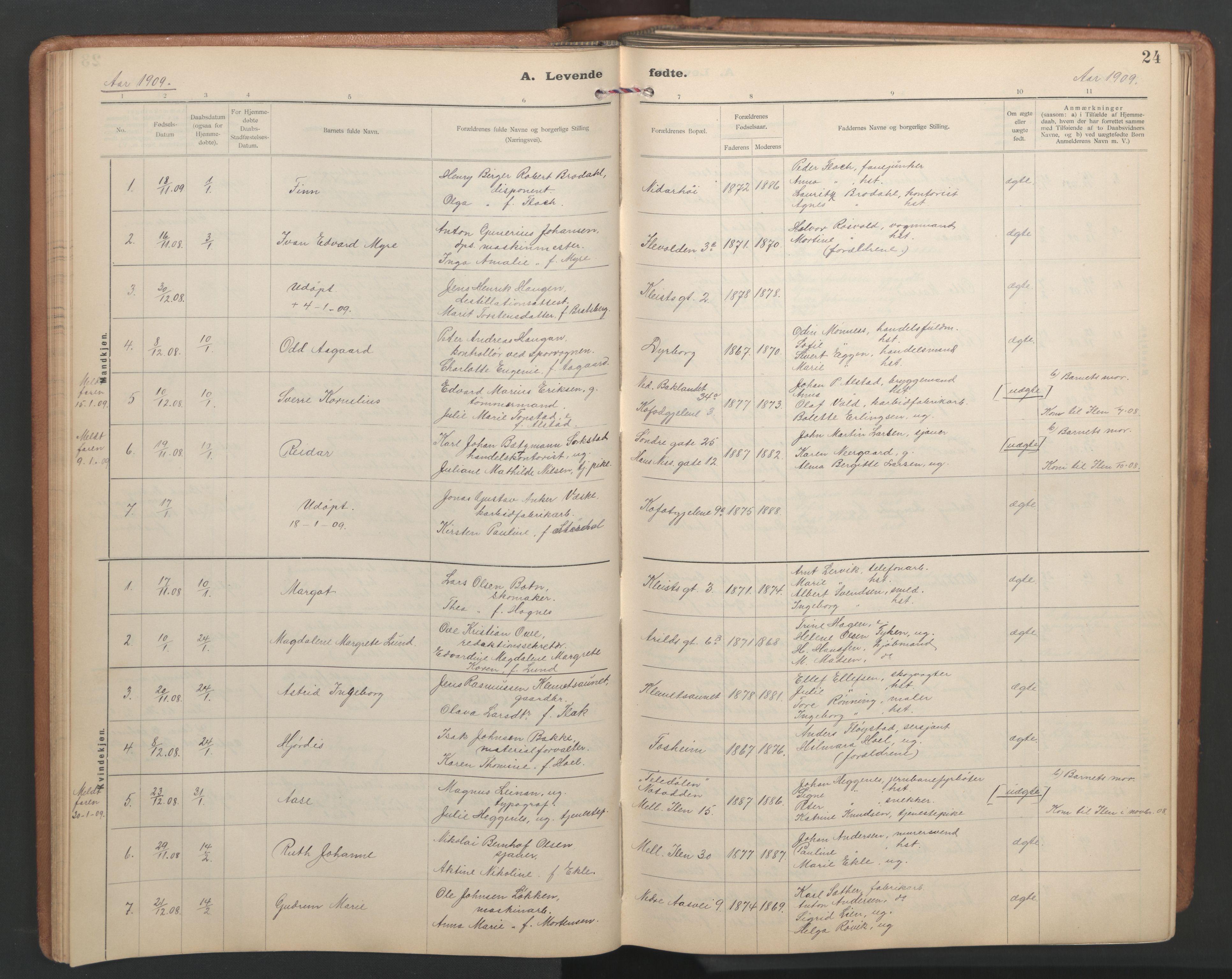 SAT, Ministerialprotokoller, klokkerbøker og fødselsregistre - Sør-Trøndelag, 603/L0173: Klokkerbok nr. 603C01, 1907-1962, s. 24