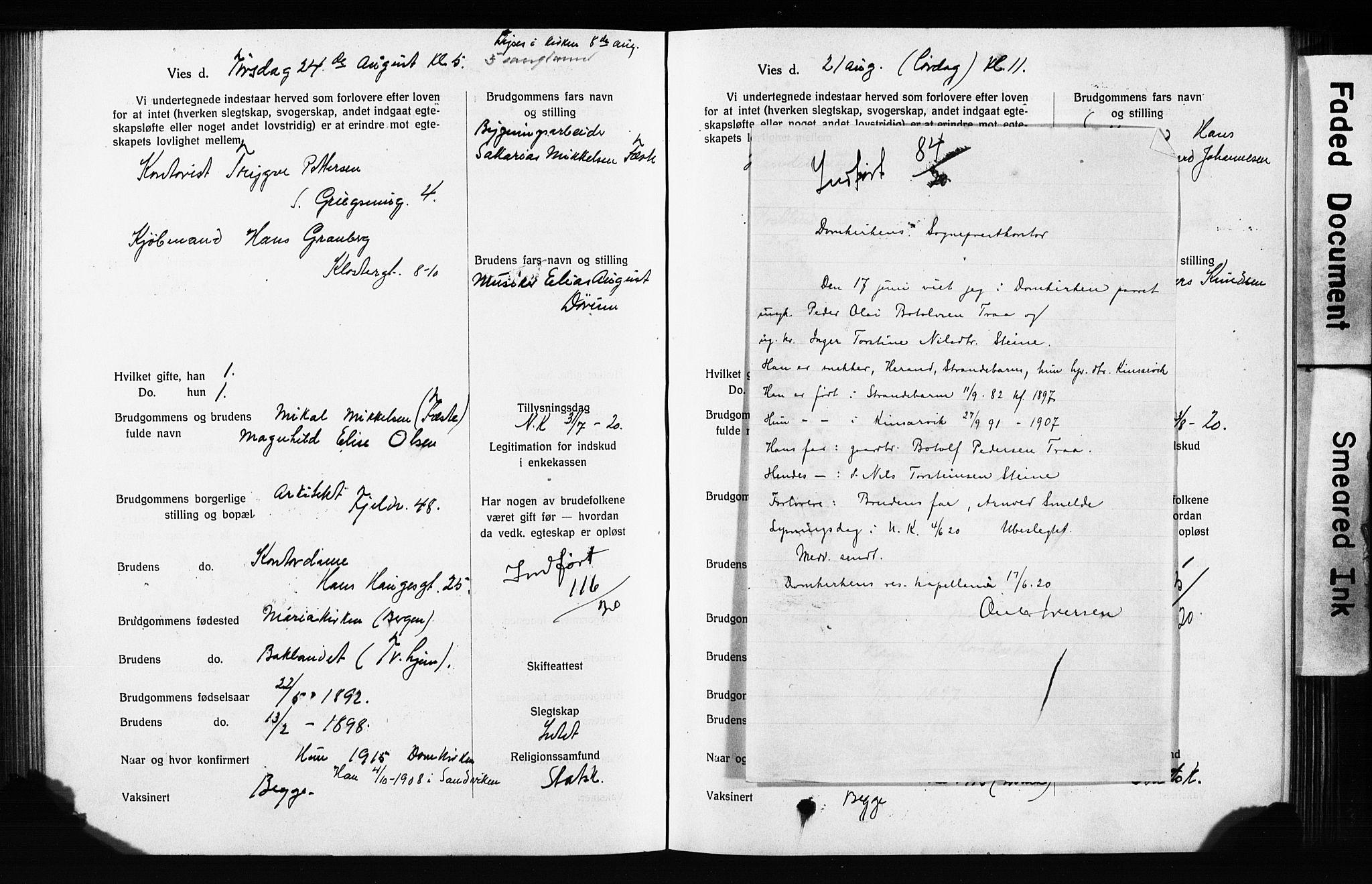 SAB, Domkirken Sokneprestembete, Forlovererklæringer nr. II.5.13, 1917-1922, s. 267