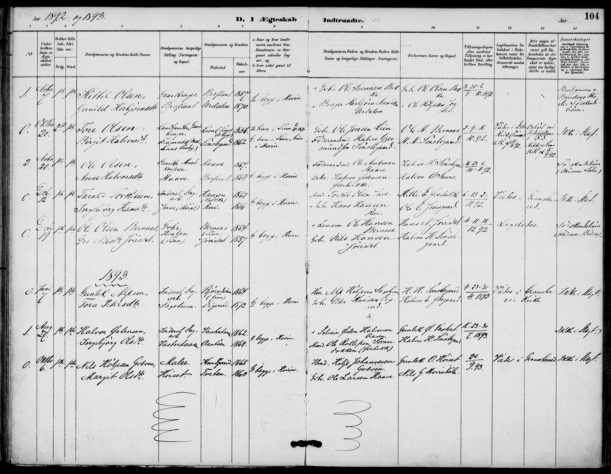 SAKO, Gransherad kirkebøker, F/Fb/L0005: Ministerialbok nr. II 5, 1887-1916, s. 104