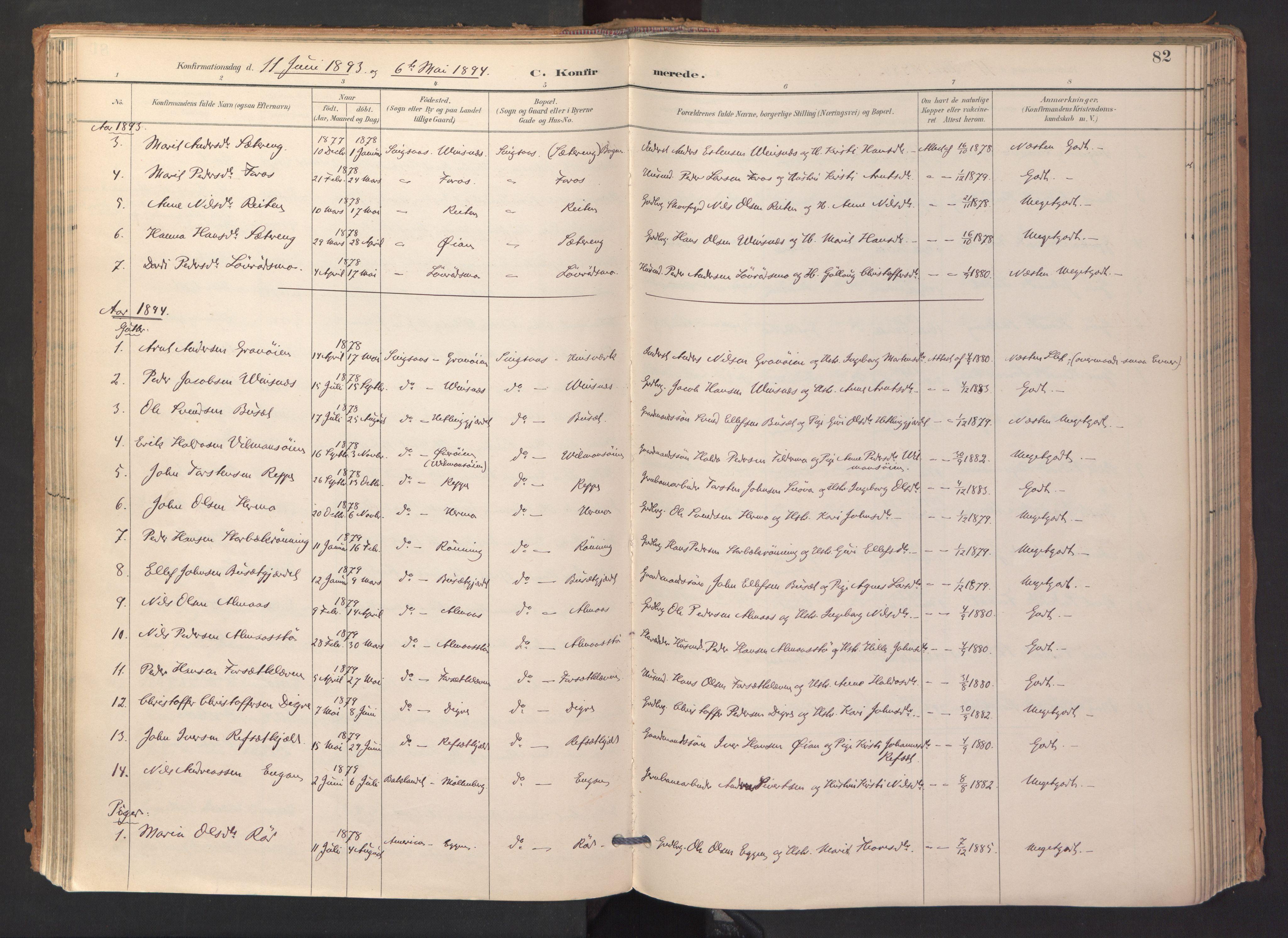 SAT, Ministerialprotokoller, klokkerbøker og fødselsregistre - Sør-Trøndelag, 688/L1025: Ministerialbok nr. 688A02, 1891-1909, s. 82