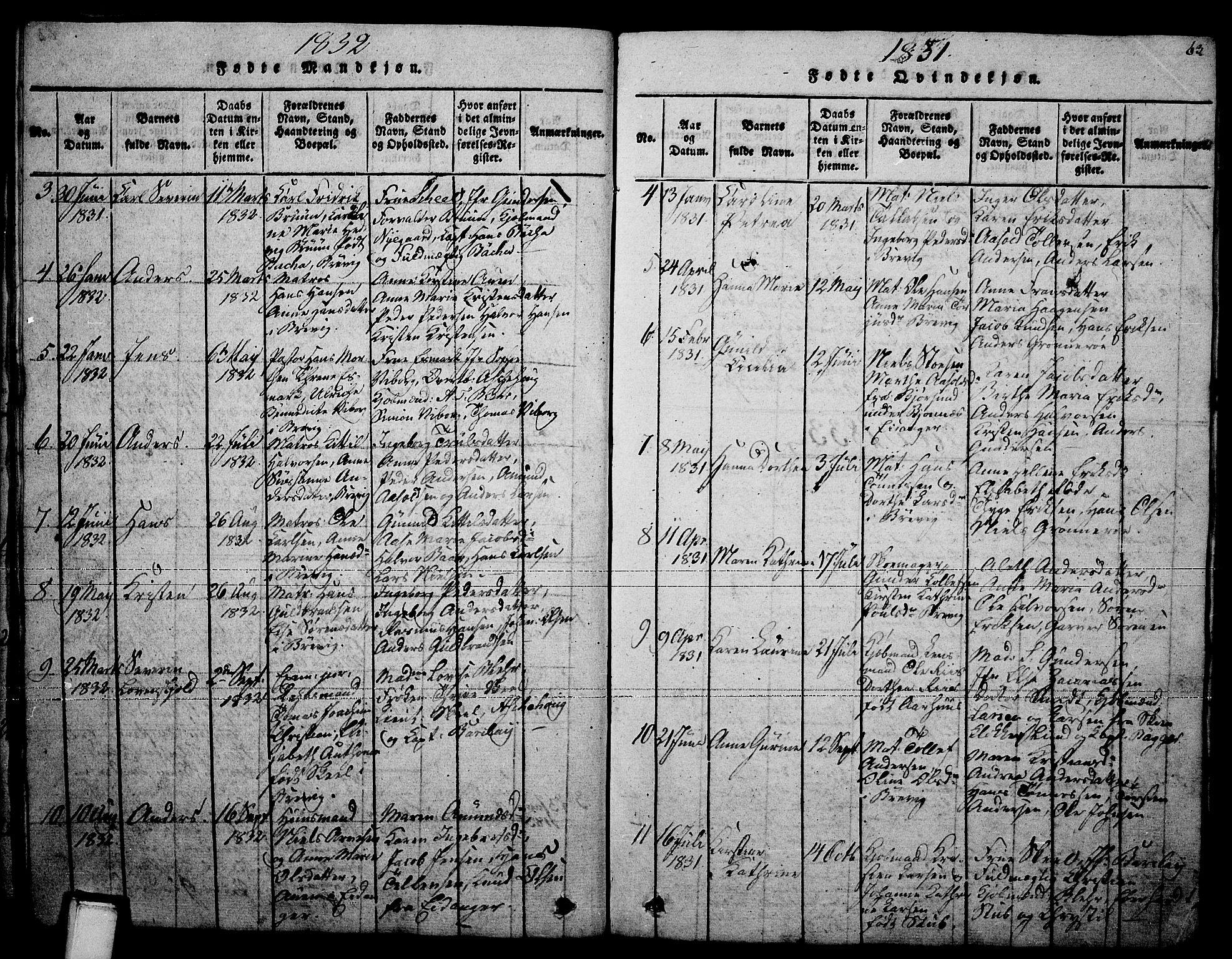 SAKO, Brevik kirkebøker, F/Fa/L0004: Ministerialbok nr. 4, 1814-1846, s. 63