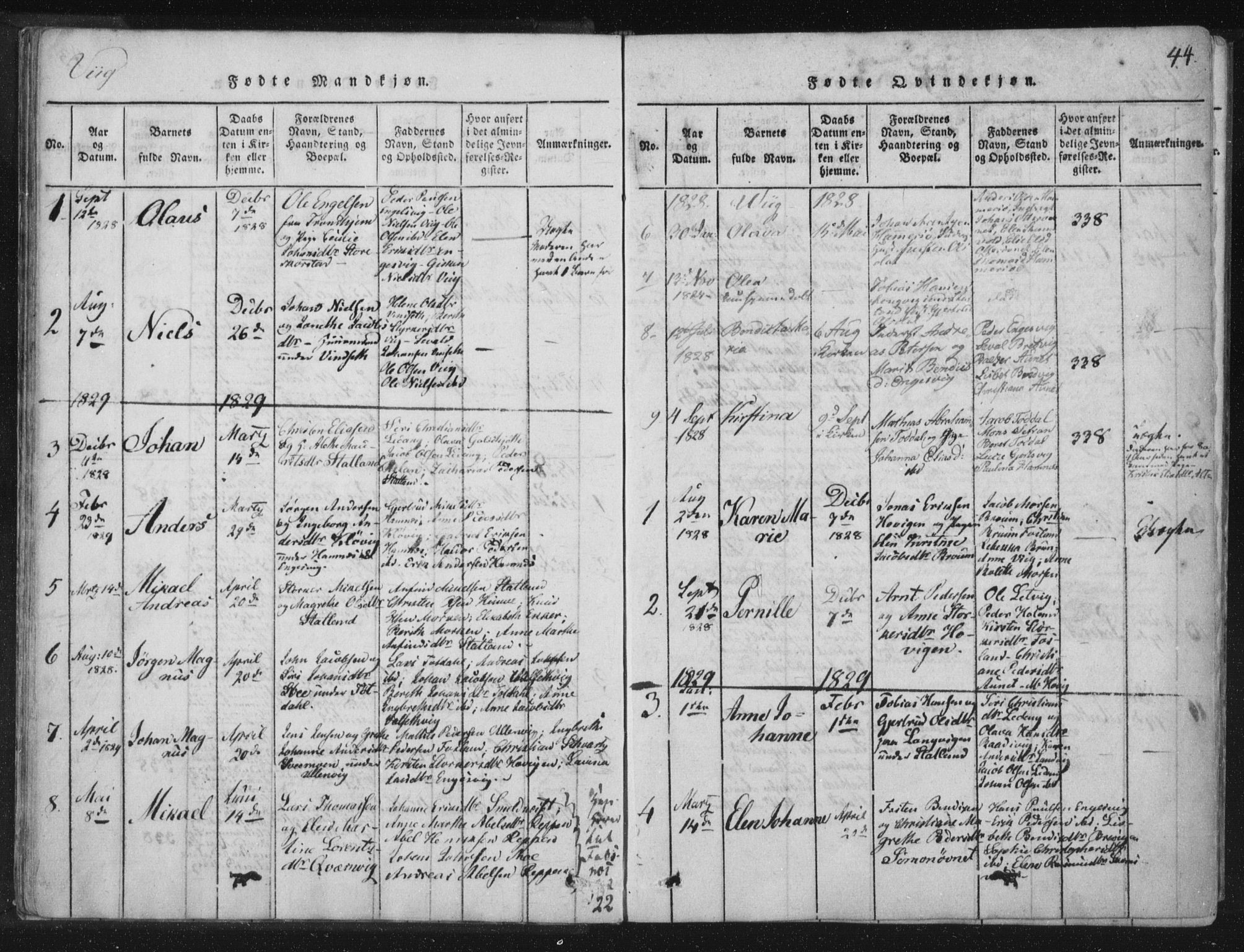 SAT, Ministerialprotokoller, klokkerbøker og fødselsregistre - Nord-Trøndelag, 773/L0609: Ministerialbok nr. 773A03 /2, 1815-1830, s. 44