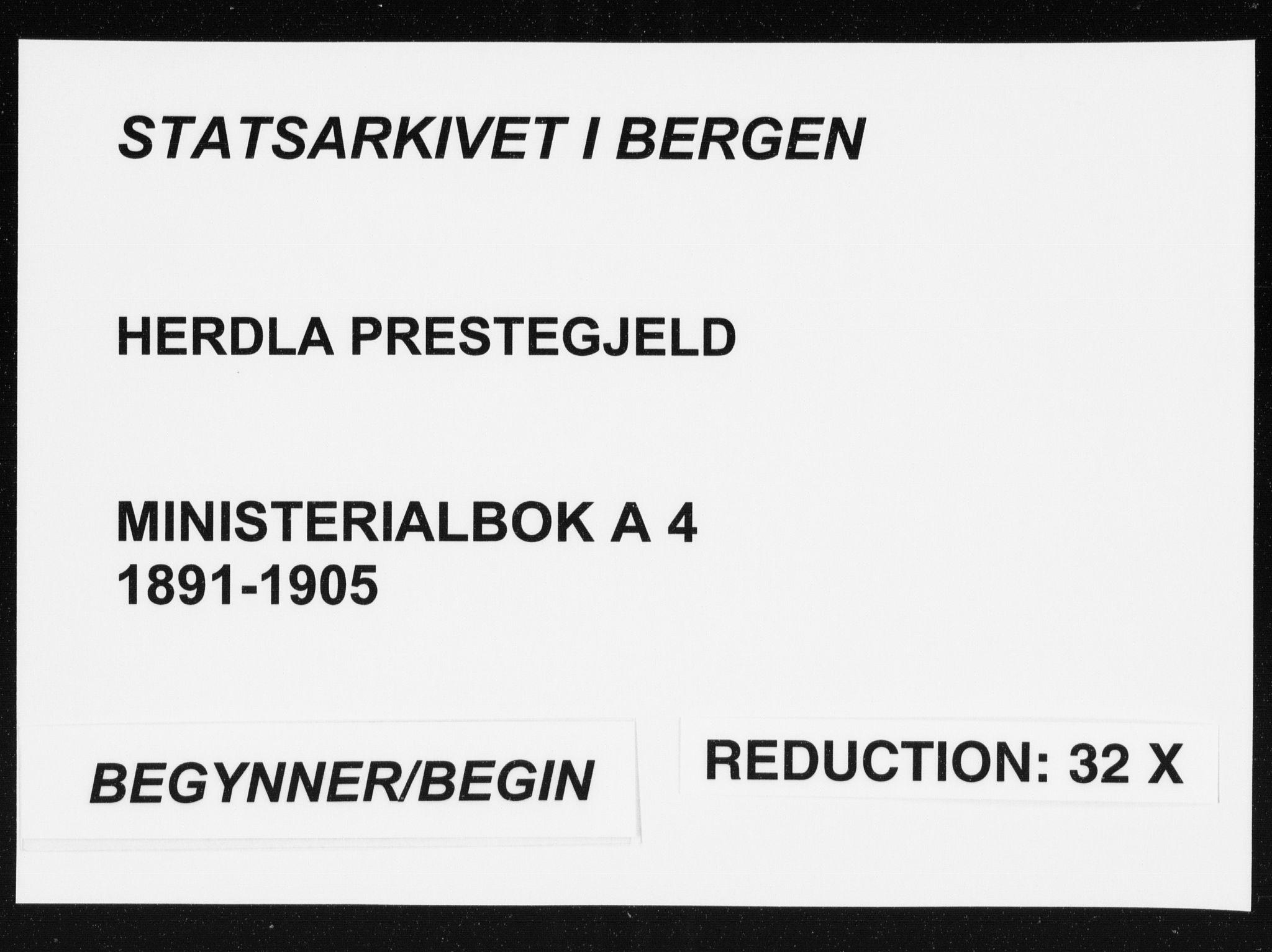 SAB, Herdla Sokneprestembete, H/Haa: Ministerialbok nr. A 4, 1891-1905