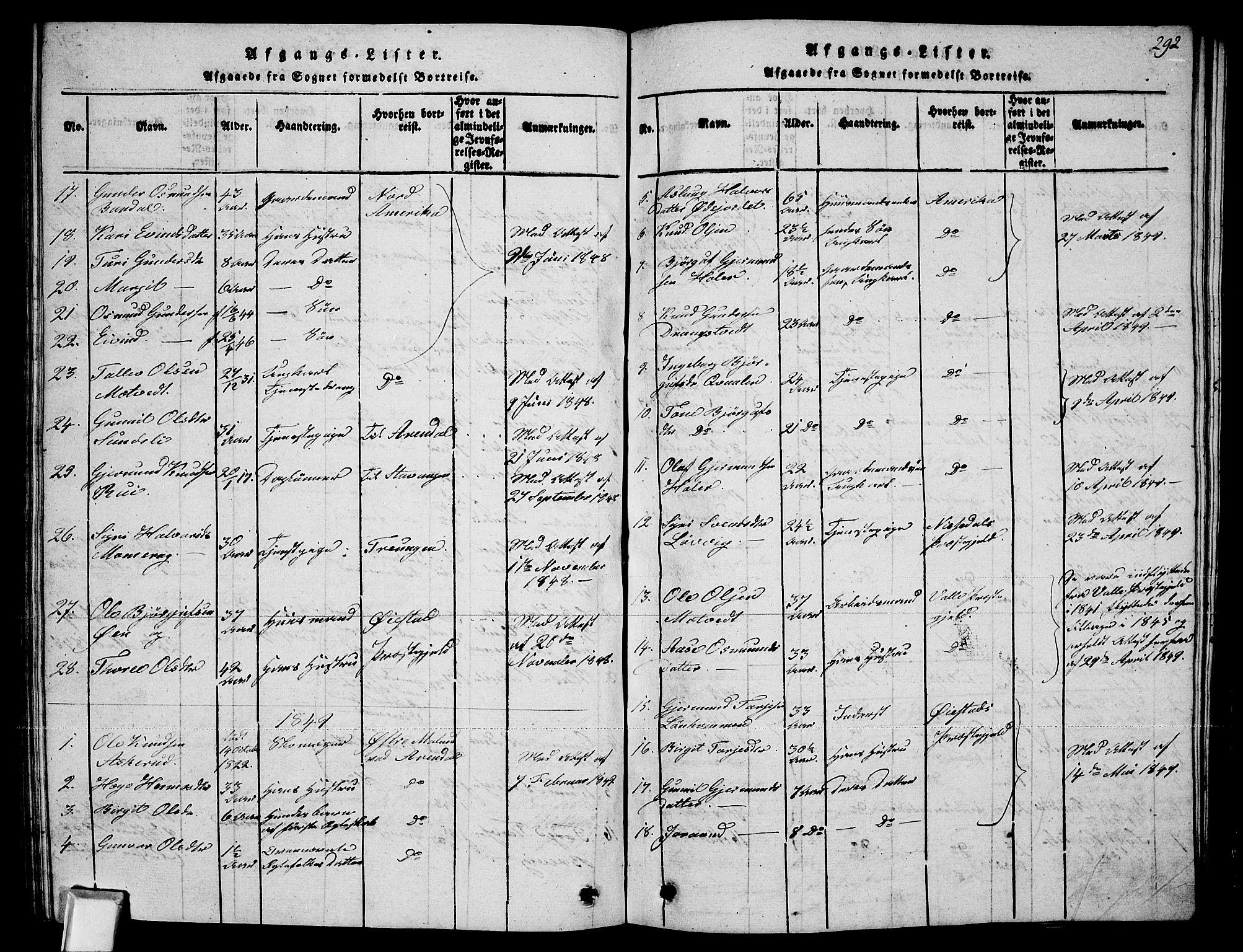 SAKO, Fyresdal kirkebøker, G/Ga/L0002: Klokkerbok nr. I 2, 1815-1857, s. 292