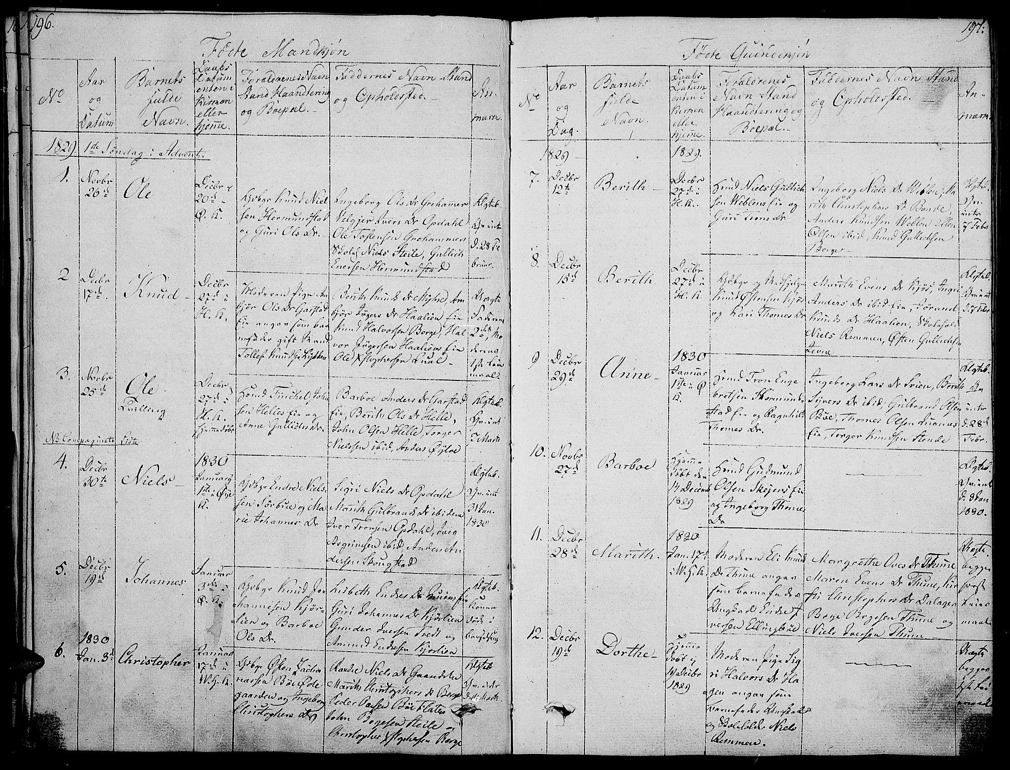 SAH, Vang prestekontor, Valdres, Ministerialbok nr. 3, 1809-1831, s. 196-197