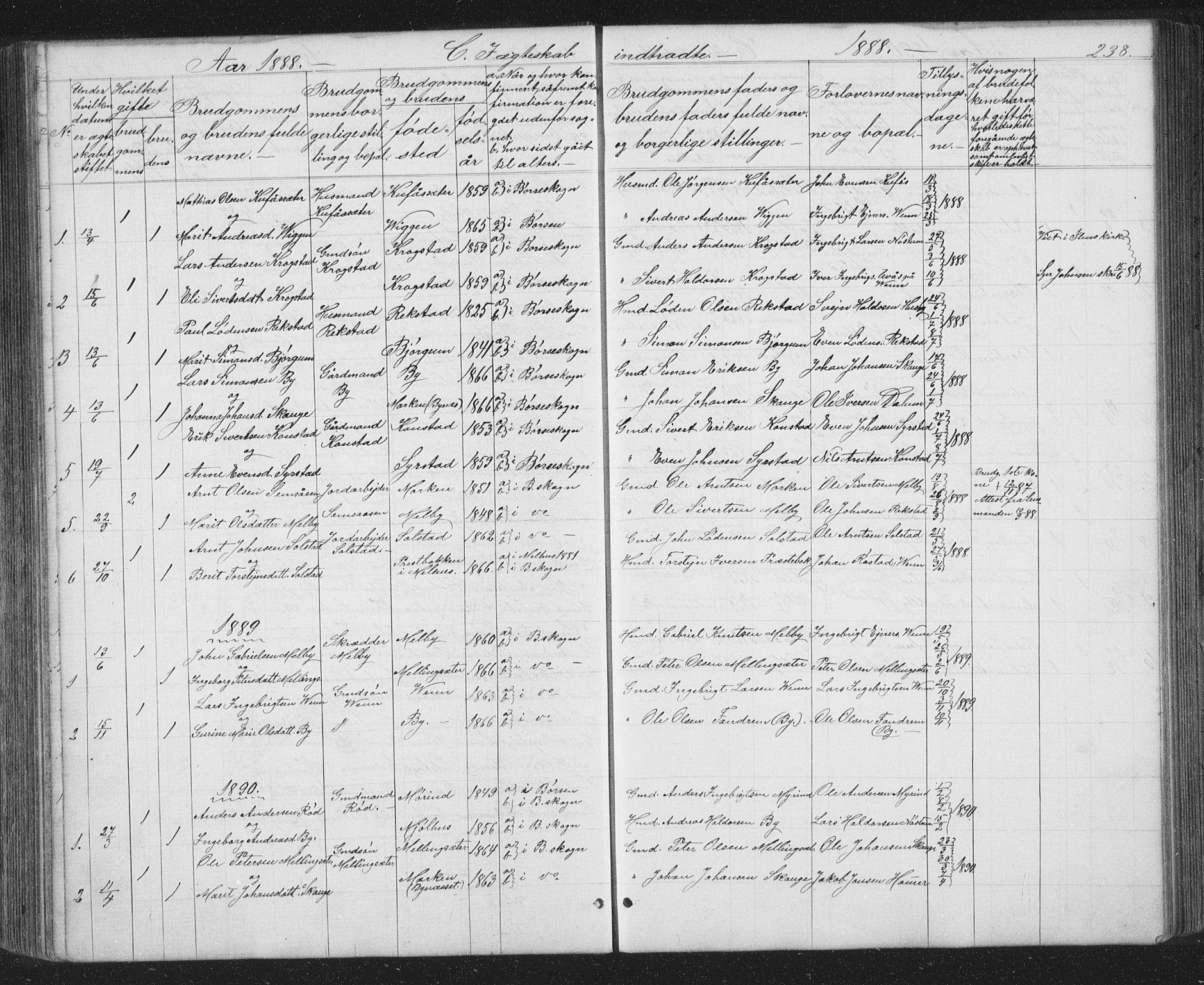 SAT, Ministerialprotokoller, klokkerbøker og fødselsregistre - Sør-Trøndelag, 667/L0798: Klokkerbok nr. 667C03, 1867-1929, s. 238
