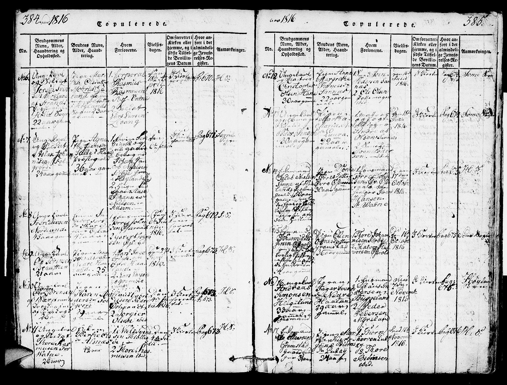SAST, Høyland sokneprestkontor, 30BA/L0006: Ministerialbok nr. A 6, 1815-1825, s. 384-385
