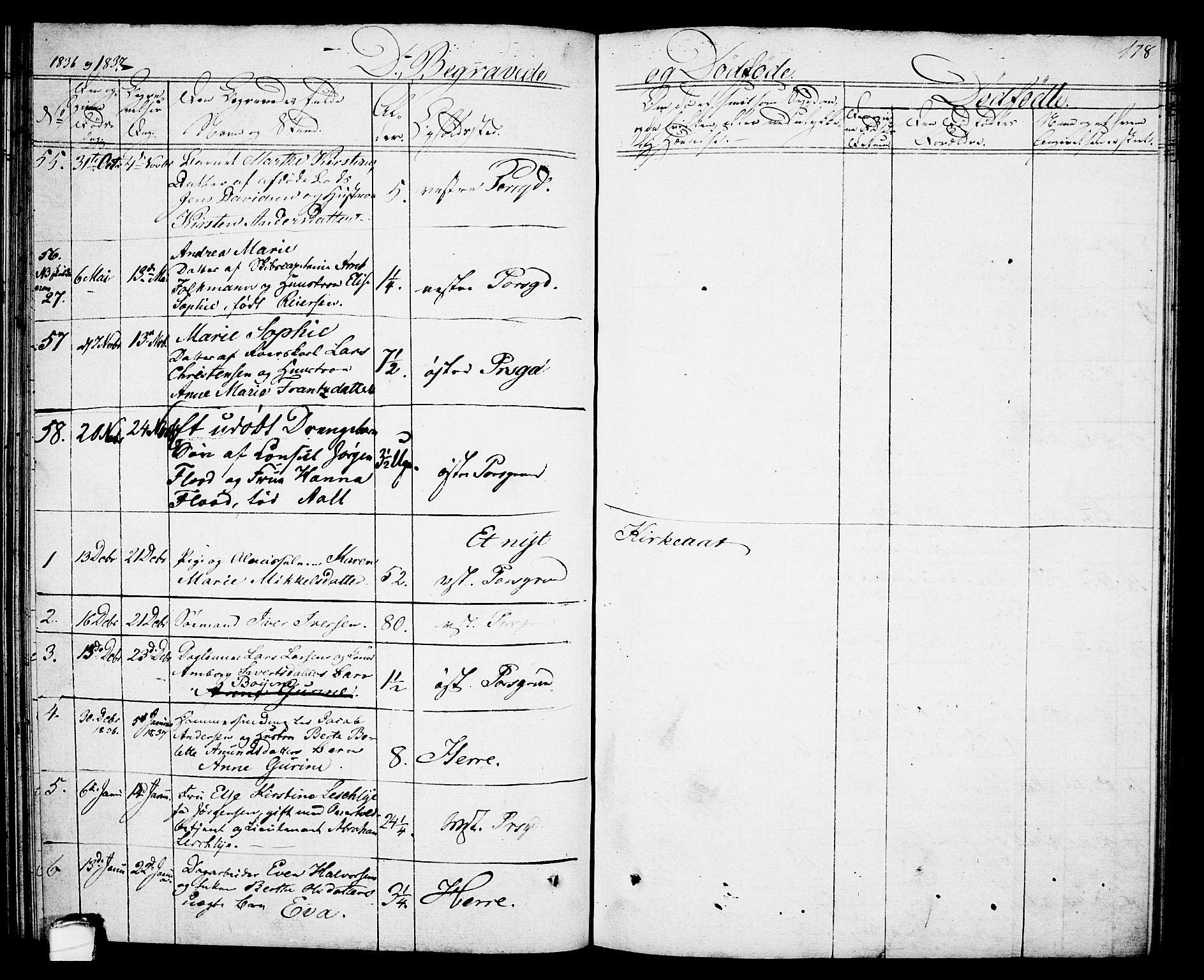 SAKO, Porsgrunn kirkebøker , G/Gb/L0002: Klokkerbok nr. II 2, 1828-1841, s. 178