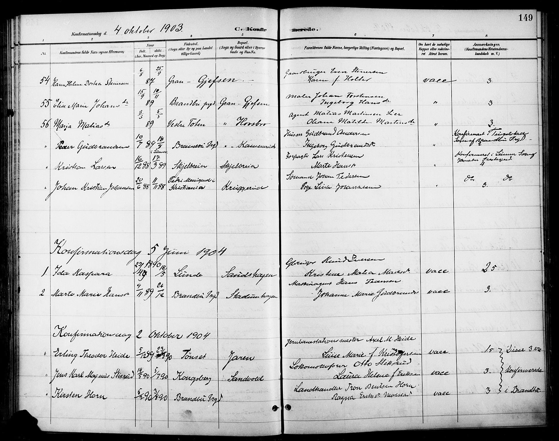 SAH, Gran prestekontor, Ministerialbok nr. 19, 1898-1907, s. 149
