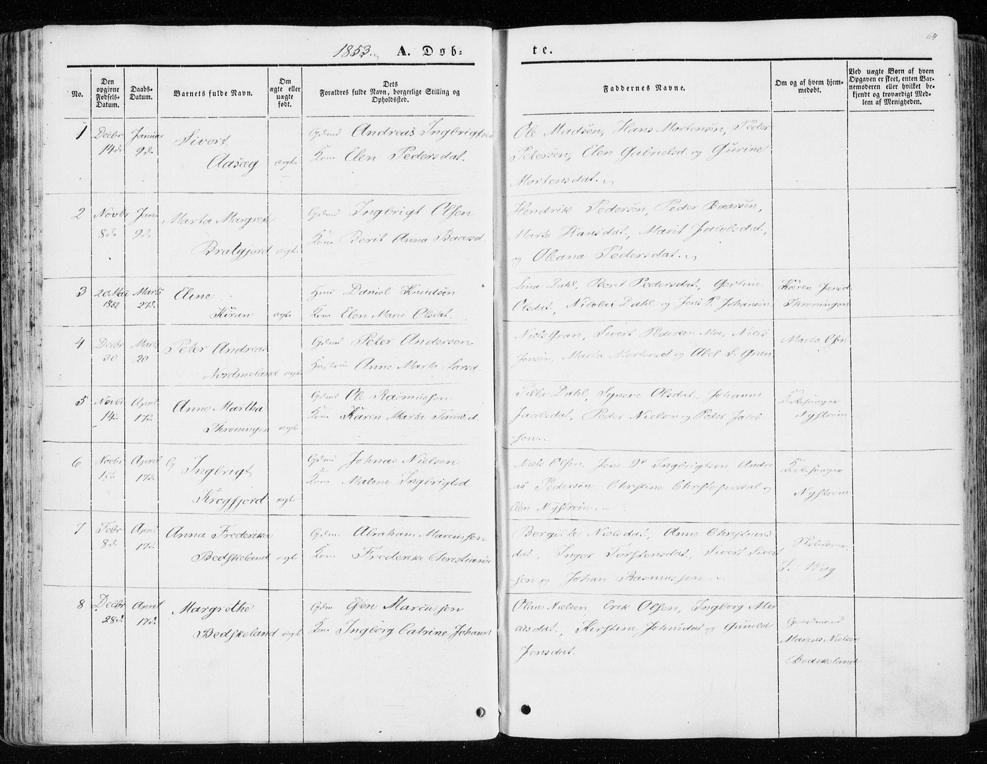 SAT, Ministerialprotokoller, klokkerbøker og fødselsregistre - Sør-Trøndelag, 657/L0704: Ministerialbok nr. 657A05, 1846-1857, s. 64