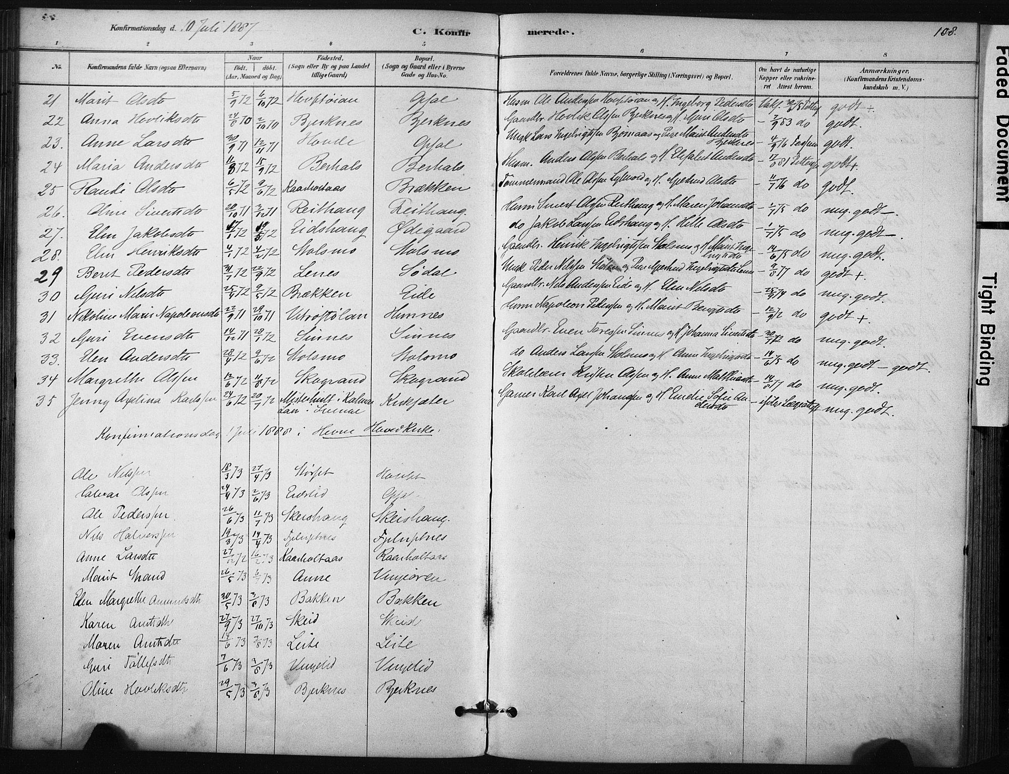 SAT, Ministerialprotokoller, klokkerbøker og fødselsregistre - Sør-Trøndelag, 631/L0512: Ministerialbok nr. 631A01, 1879-1912, s. 108