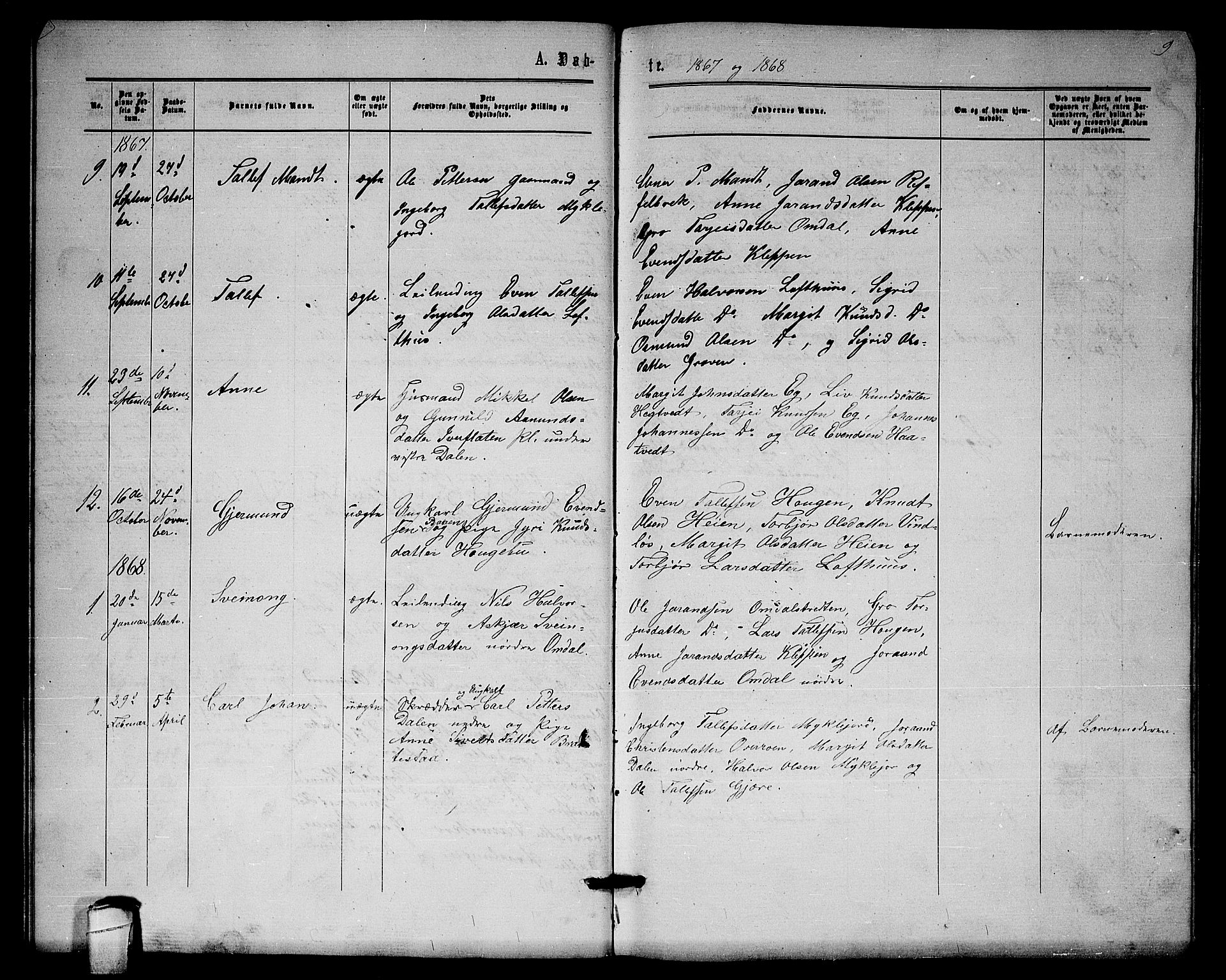 SAKO, Lårdal kirkebøker, G/Gb/L0002: Klokkerbok nr. II 2, 1865-1888, s. 9