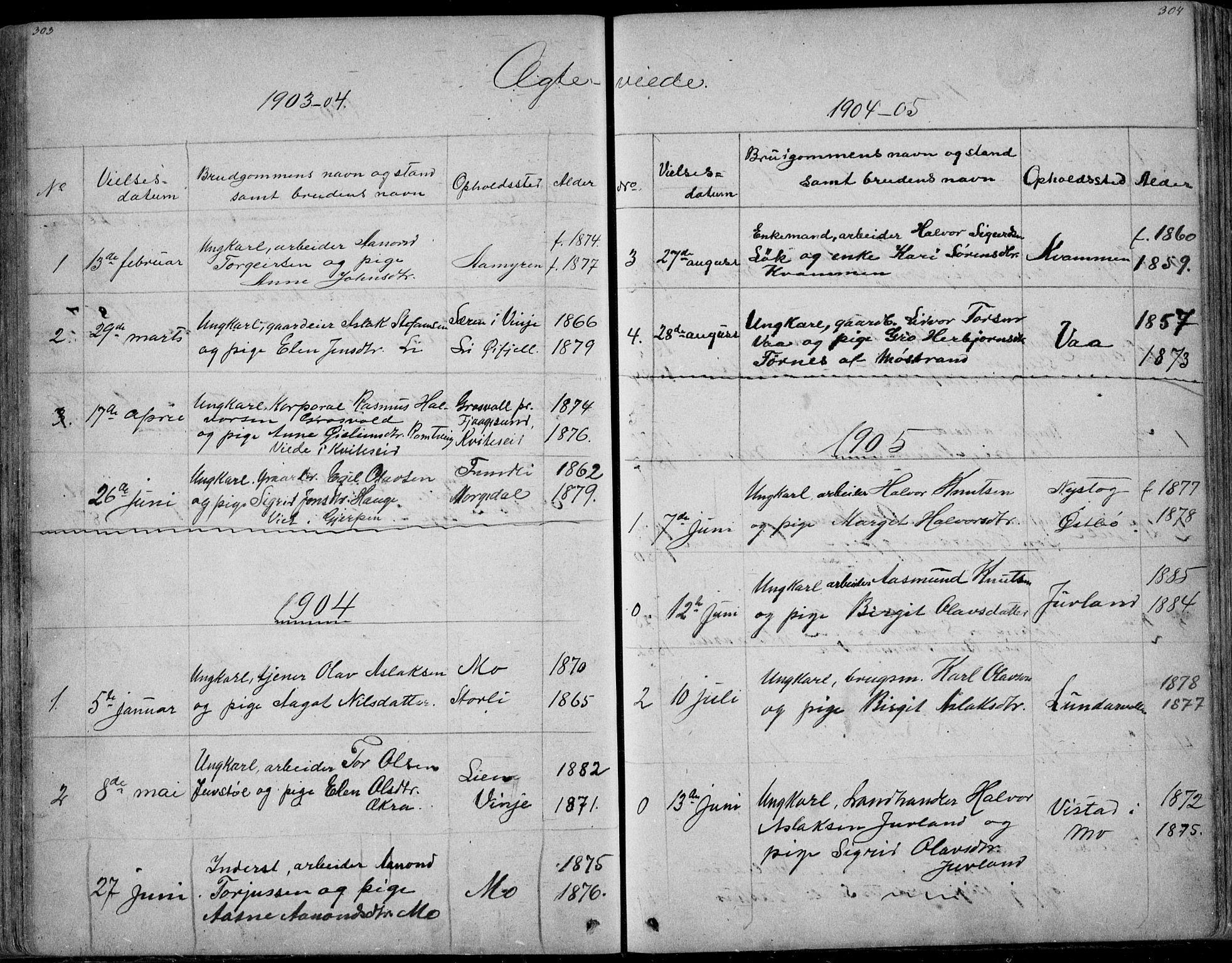 SAKO, Rauland kirkebøker, G/Ga/L0002: Klokkerbok nr. I 2, 1849-1935, s. 303-304