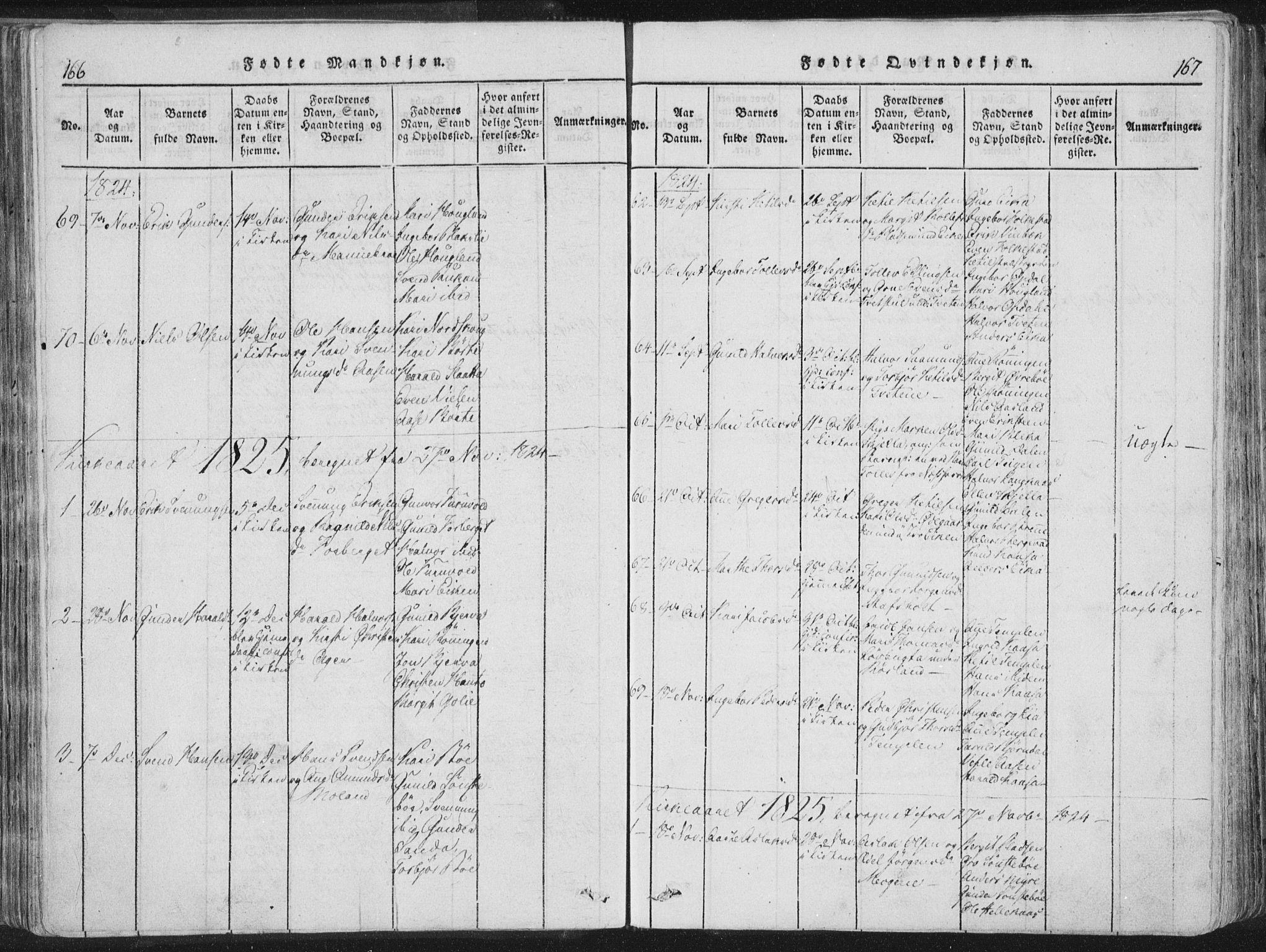 SAKO, Bø kirkebøker, F/Fa/L0006: Ministerialbok nr. 6, 1815-1831, s. 166-167