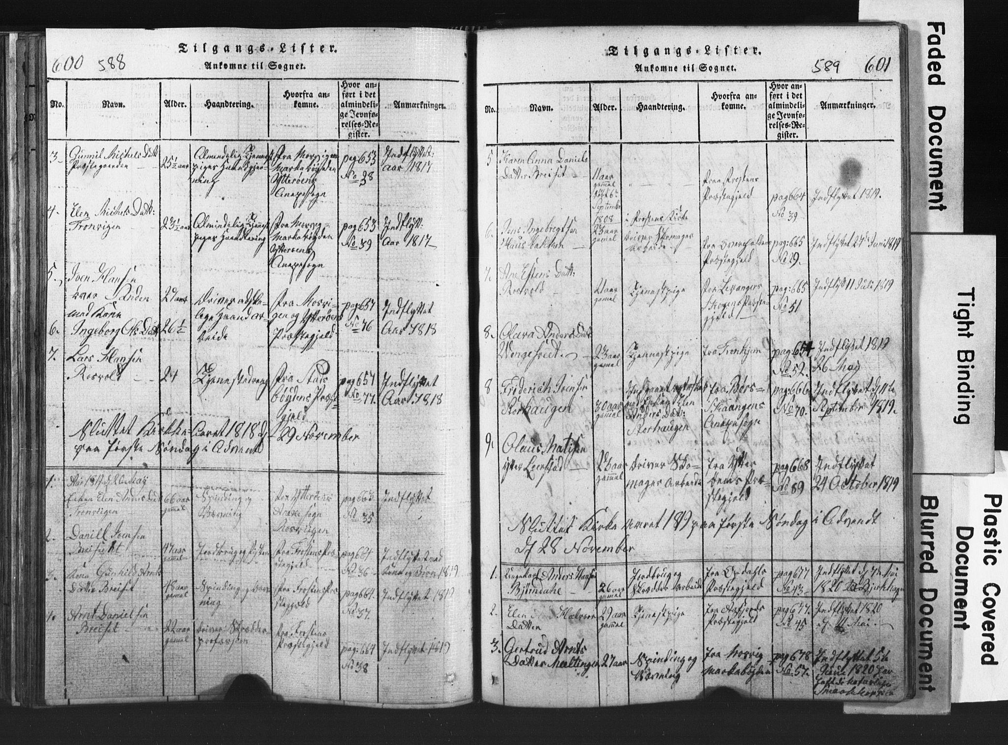 SAT, Ministerialprotokoller, klokkerbøker og fødselsregistre - Nord-Trøndelag, 701/L0017: Klokkerbok nr. 701C01, 1817-1825, s. 588-589