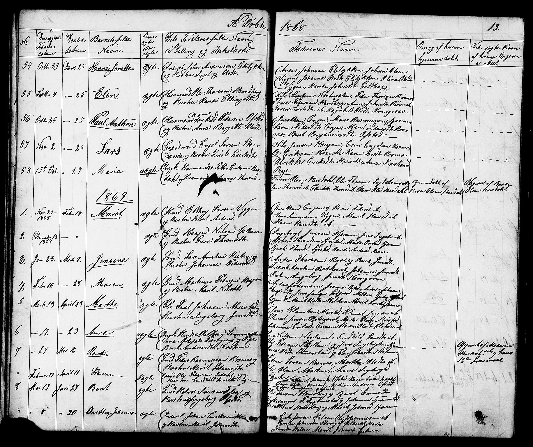 SAT, Ministerialprotokoller, klokkerbøker og fødselsregistre - Sør-Trøndelag, 665/L0777: Klokkerbok nr. 665C02, 1867-1915, s. 13
