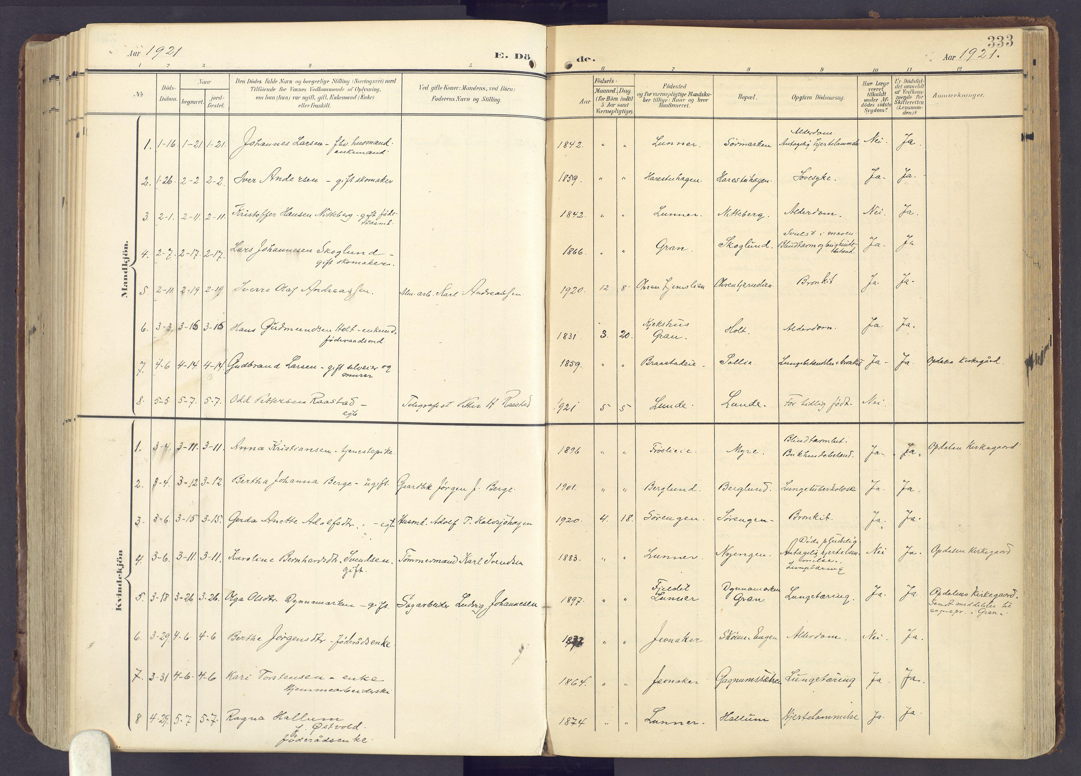 SAH, Lunner prestekontor, H/Ha/Haa/L0001: Ministerialbok nr. 1, 1907-1922, s. 333