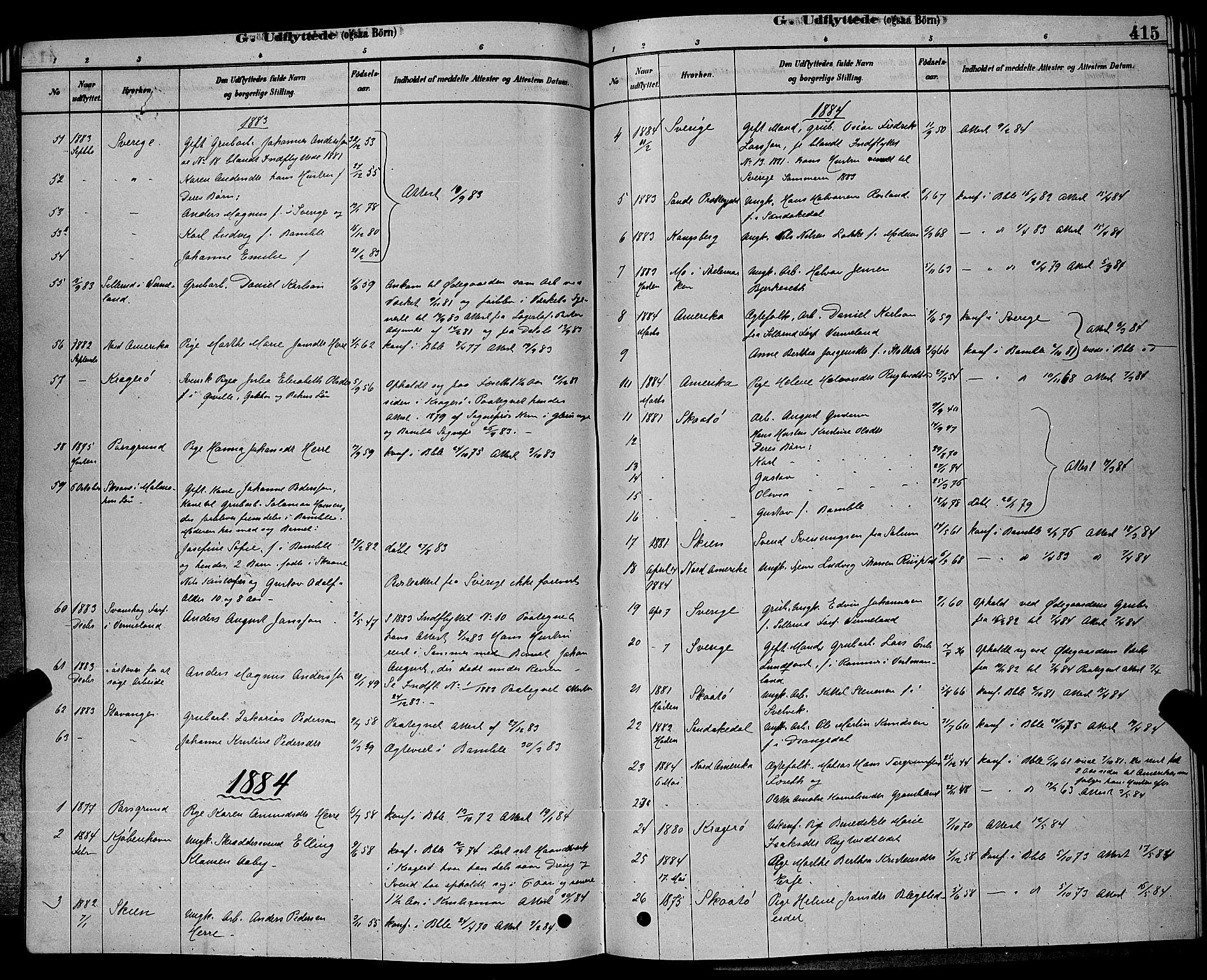 SAKO, Bamble kirkebøker, G/Ga/L0008: Klokkerbok nr. I 8, 1878-1888, s. 415