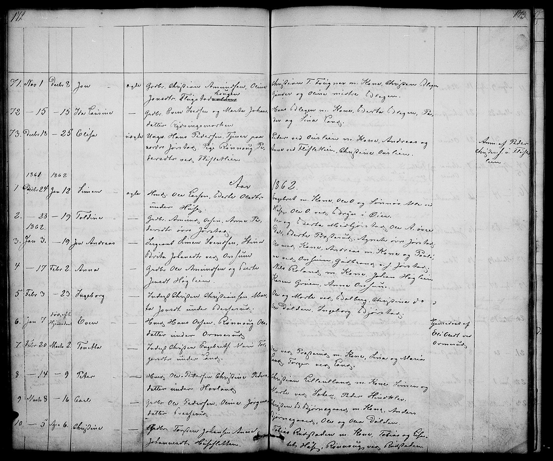 SAH, Fåberg prestekontor, Klokkerbok nr. 5, 1837-1864, s. 172-173