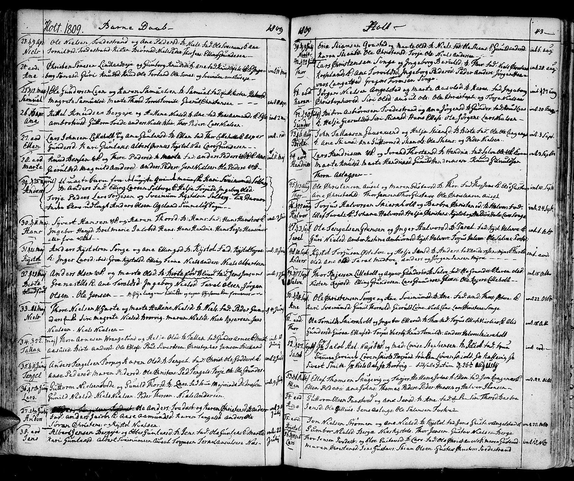 SAK, Holt sokneprestkontor, F/Fa/L0004: Ministerialbok nr. A 4, 1799-1813, s. 43