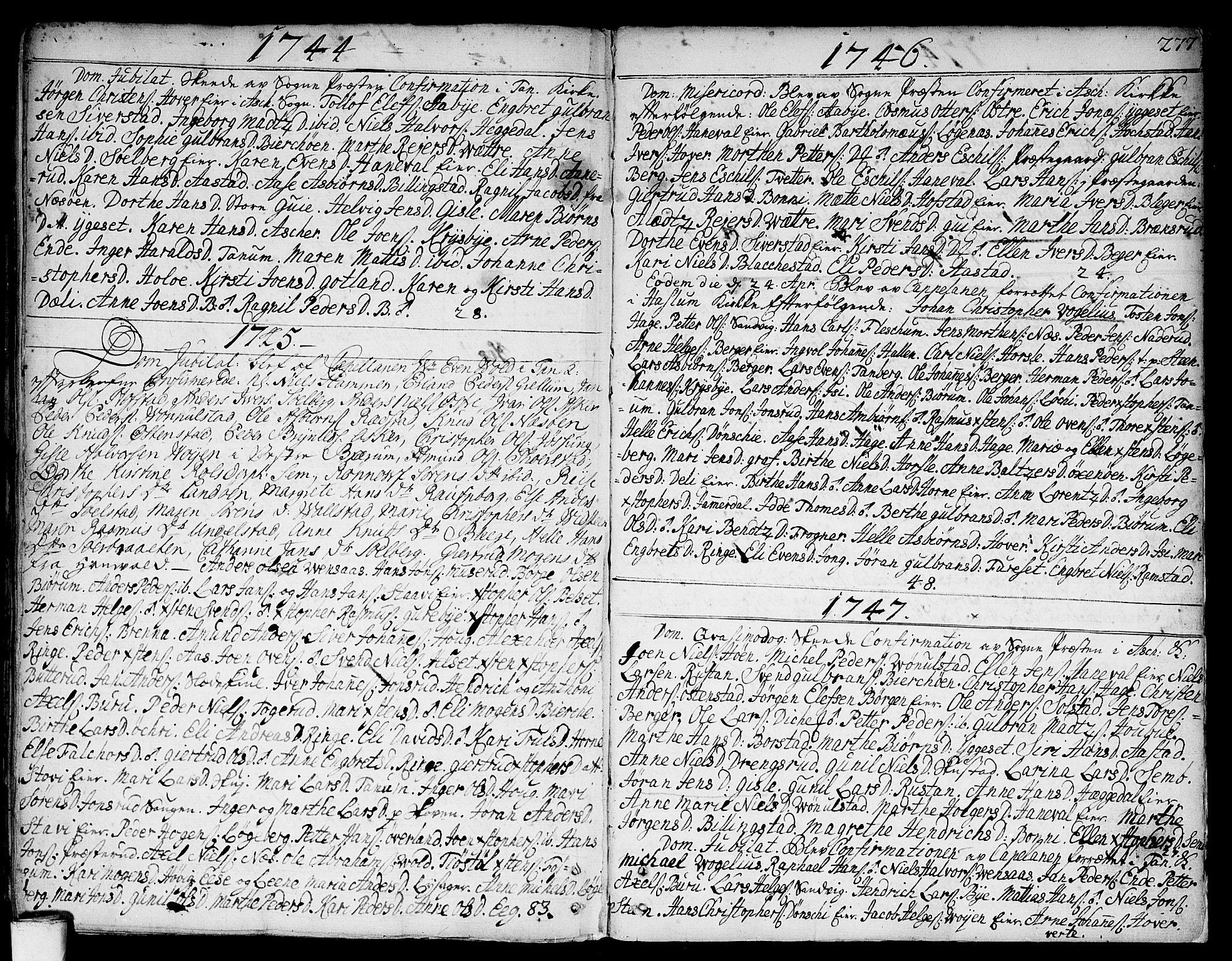 SAO, Asker prestekontor Kirkebøker, F/Fa/L0002: Ministerialbok nr. I 2, 1733-1766, s. 277