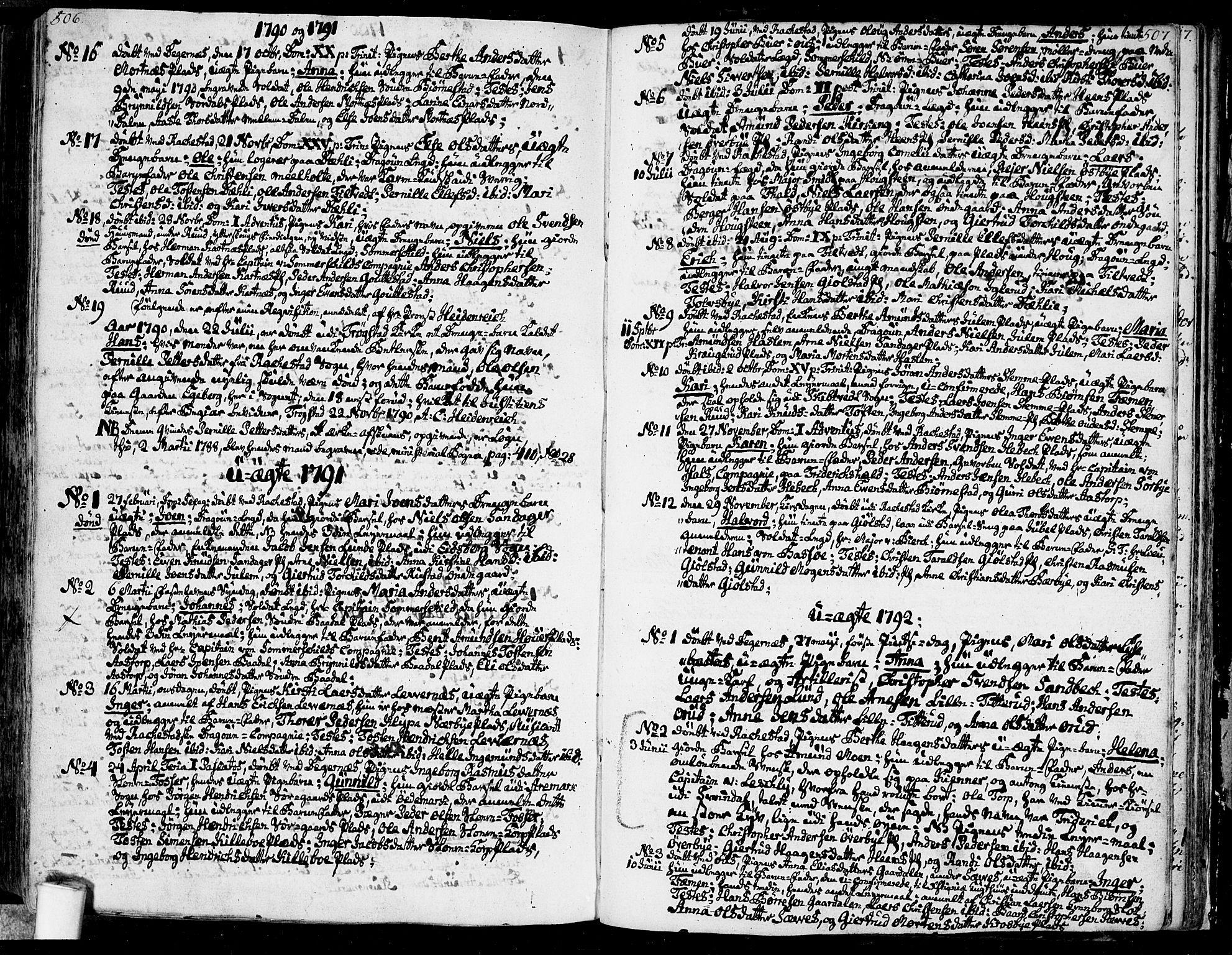 SAO, Rakkestad prestekontor Kirkebøker, F/Fa/L0005: Ministerialbok nr. I 5, 1784-1814, s. 506-507