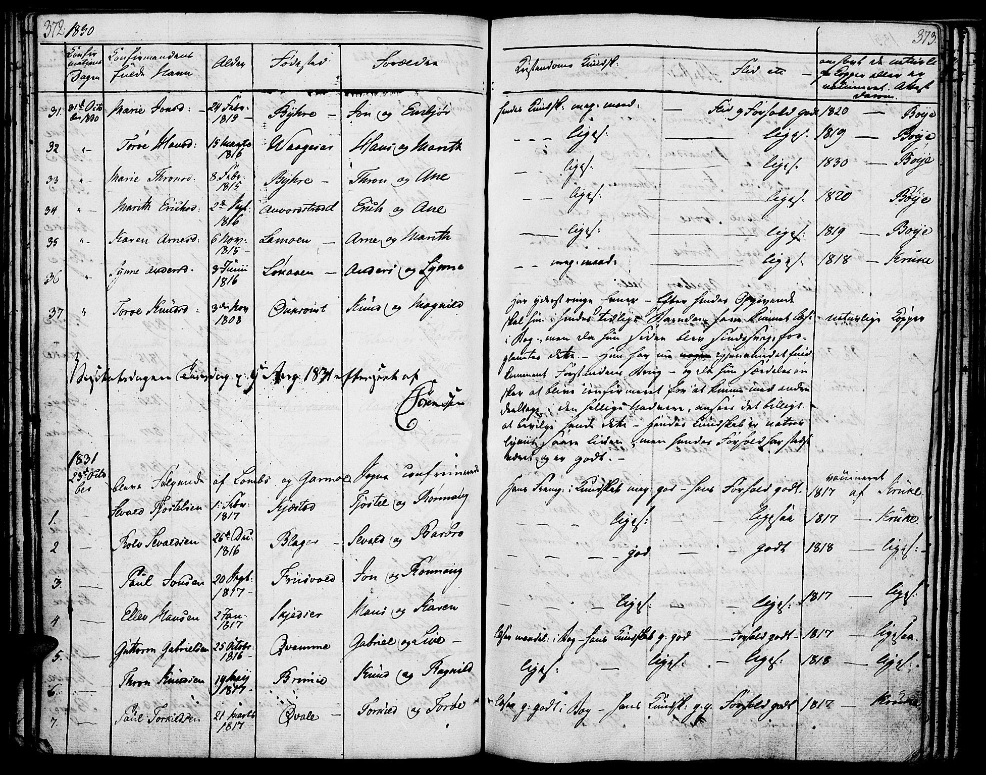 SAH, Lom prestekontor, K/L0005: Ministerialbok nr. 5, 1825-1837, s. 372-373