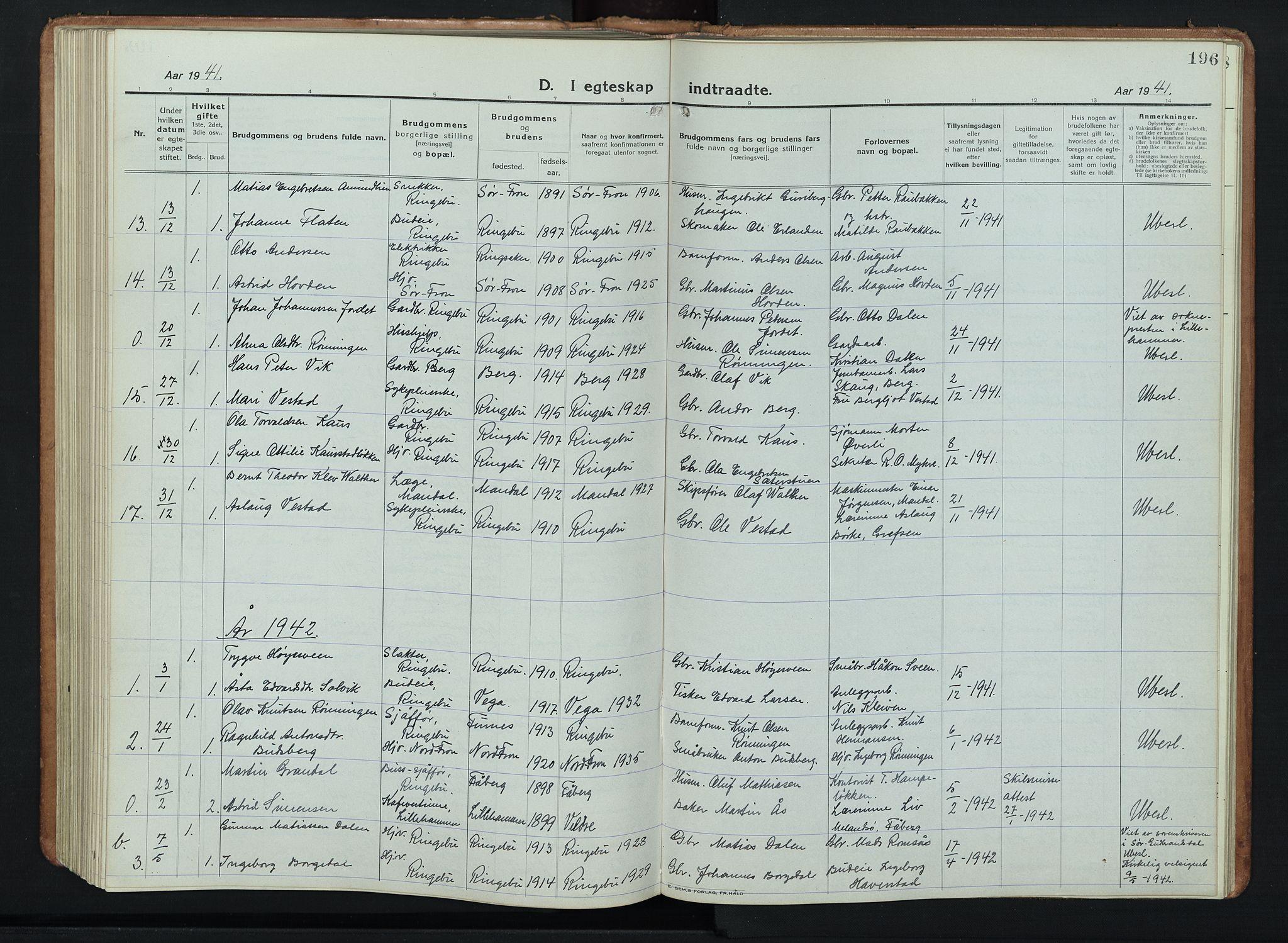 SAH, Ringebu prestekontor, Klokkerbok nr. 11, 1921-1943, s. 196