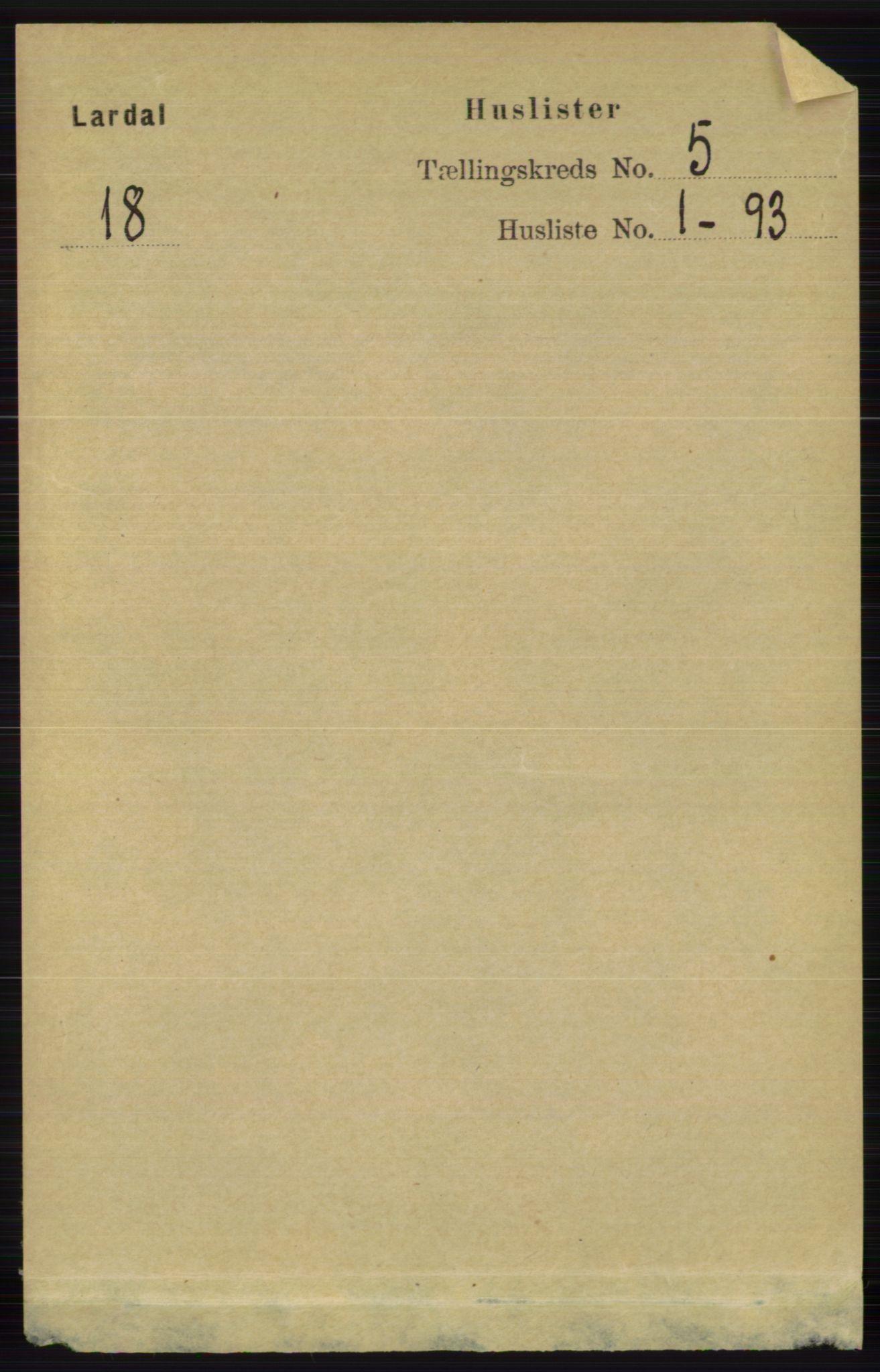 RA, Folketelling 1891 for 0728 Lardal herred, 1891, s. 2606