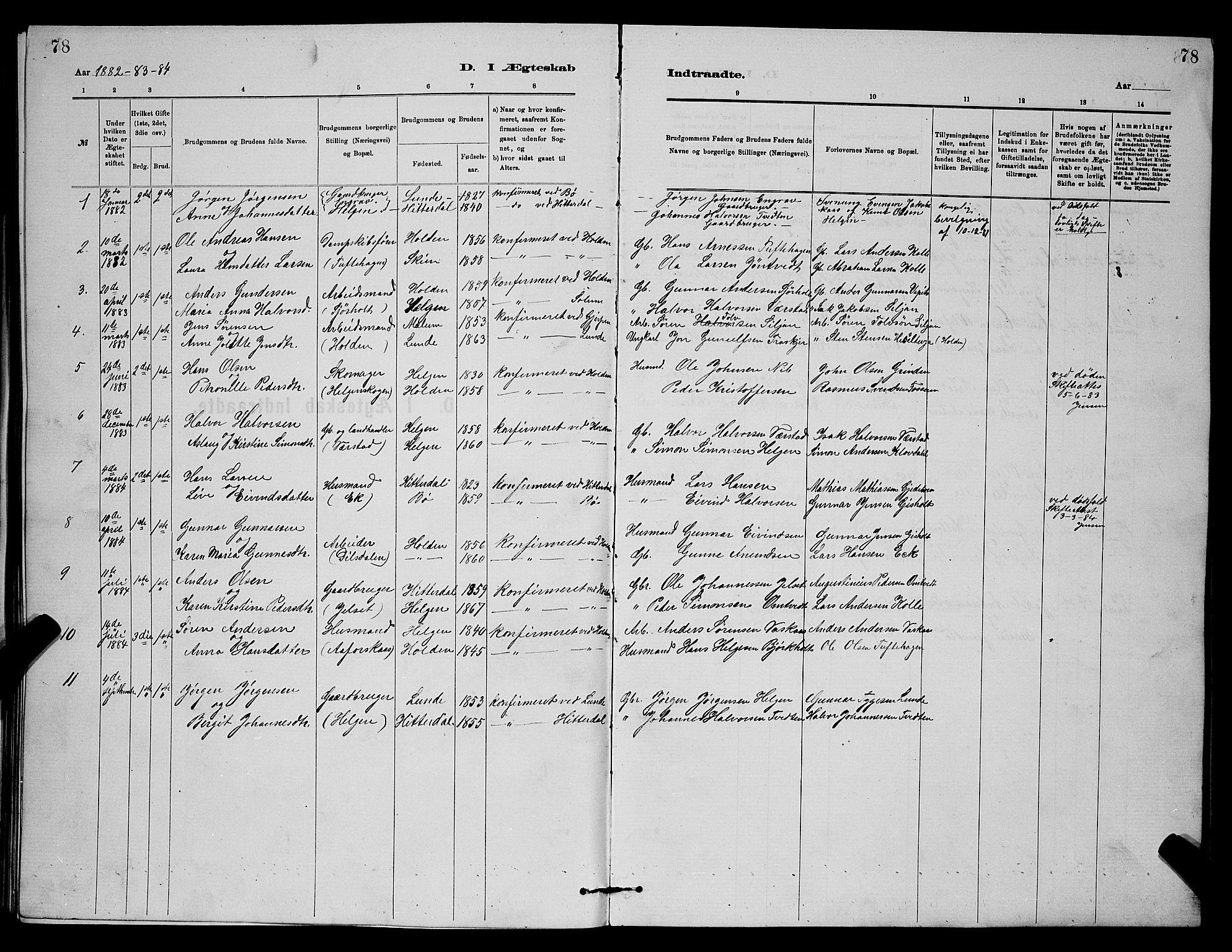 SAKO, Holla kirkebøker, G/Gb/L0001: Klokkerbok nr. II 1, 1882-1897, s. 78