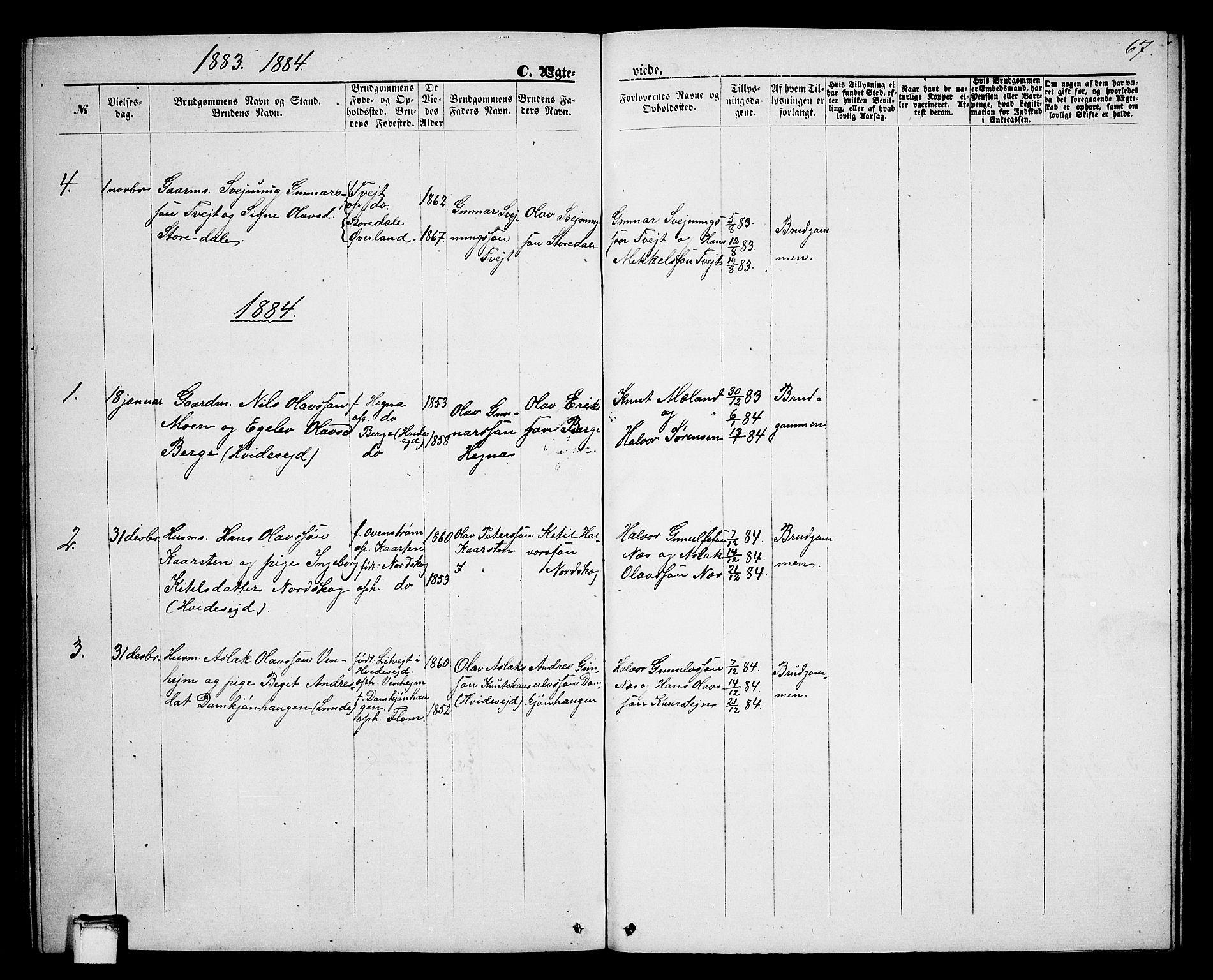 SAKO, Lunde kirkebøker, G/Gb/L0001: Klokkerbok nr. II 1, 1866-1887, s. 67