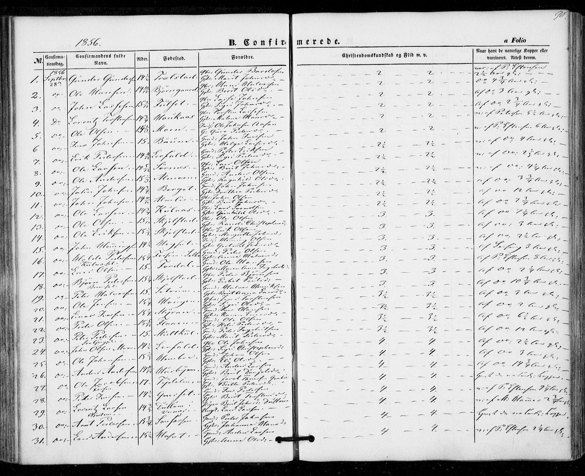 SAT, Ministerialprotokoller, klokkerbøker og fødselsregistre - Nord-Trøndelag, 703/L0028: Ministerialbok nr. 703A01, 1850-1862, s. 90