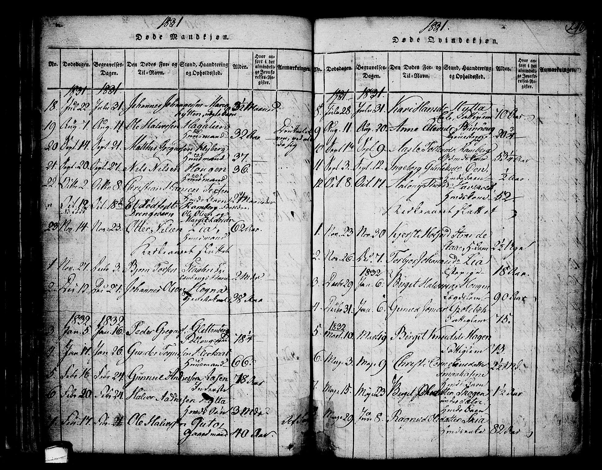 SAKO, Heddal kirkebøker, F/Fa/L0005: Ministerialbok nr. I 5, 1814-1837, s. 239-240