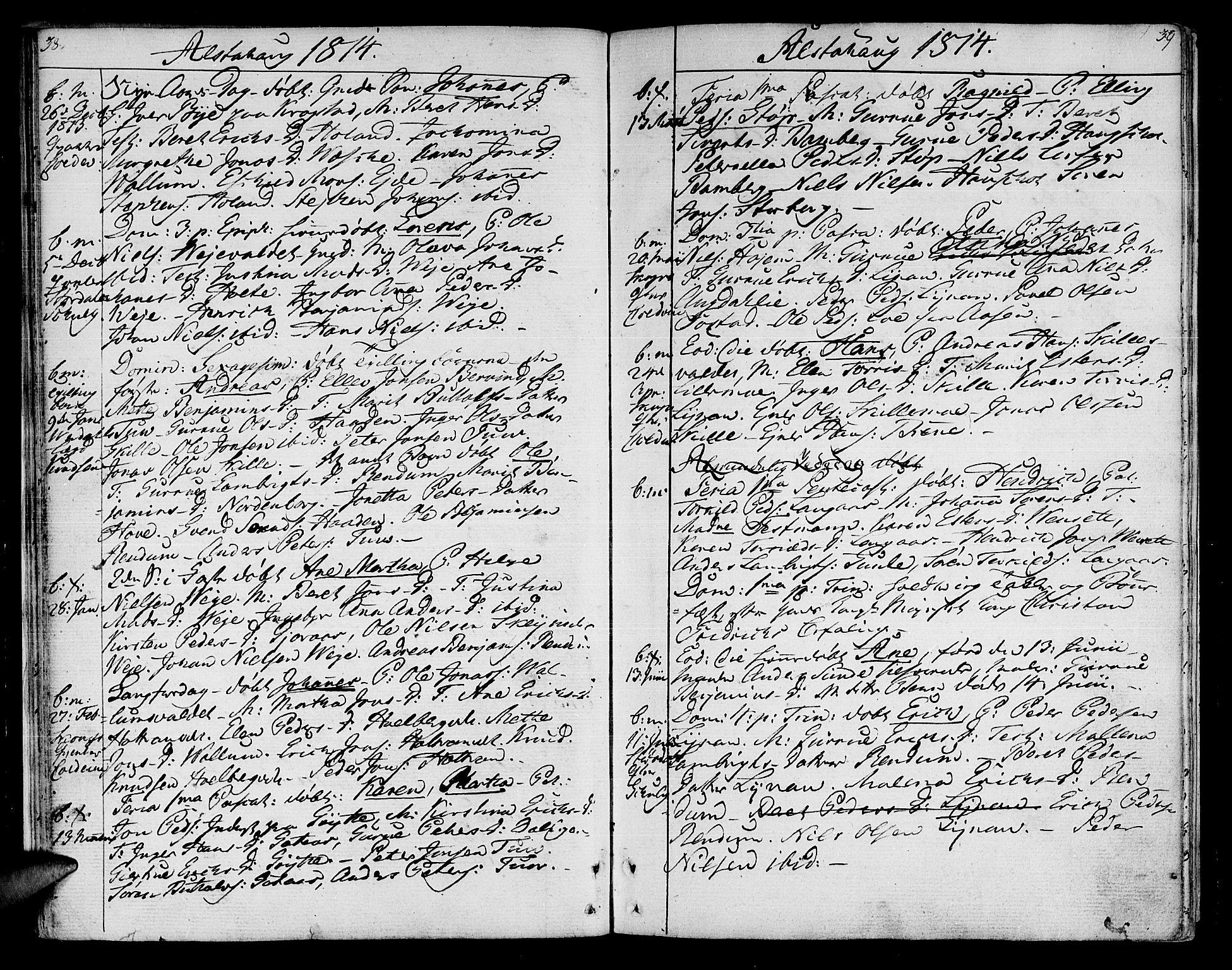 SAT, Ministerialprotokoller, klokkerbøker og fødselsregistre - Nord-Trøndelag, 717/L0145: Ministerialbok nr. 717A03 /1, 1810-1815, s. 38-39