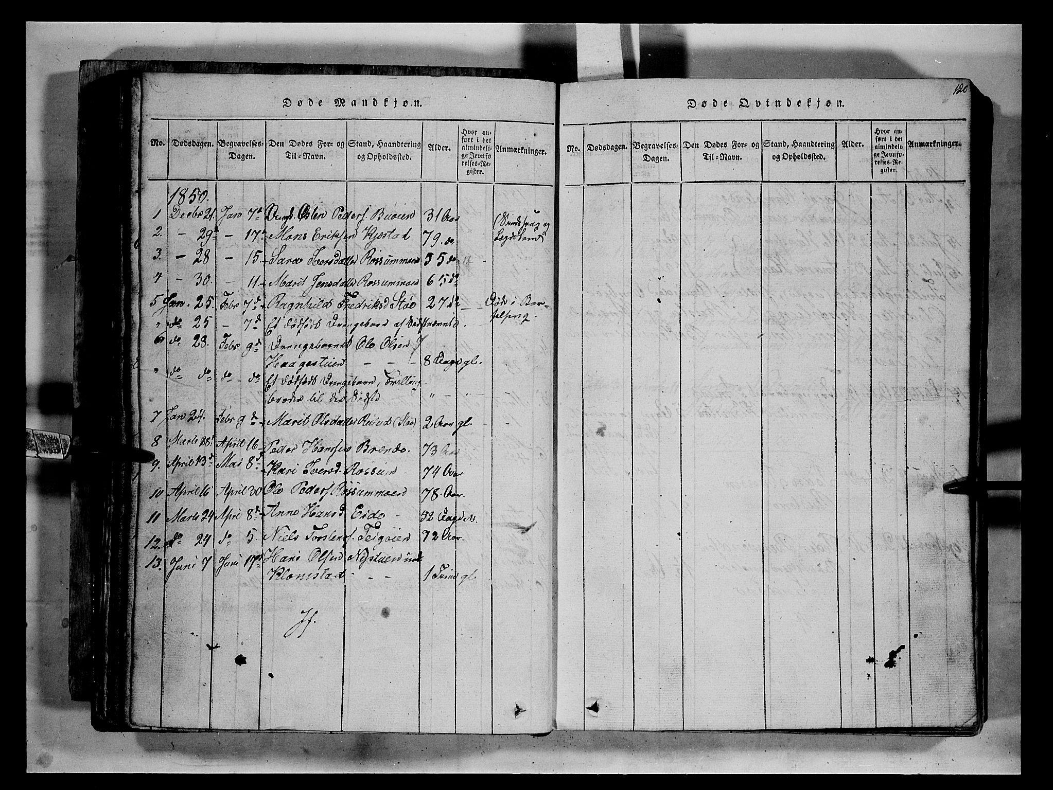 SAH, Fron prestekontor, H/Ha/Hab/L0002: Klokkerbok nr. 2, 1816-1850, s. 120