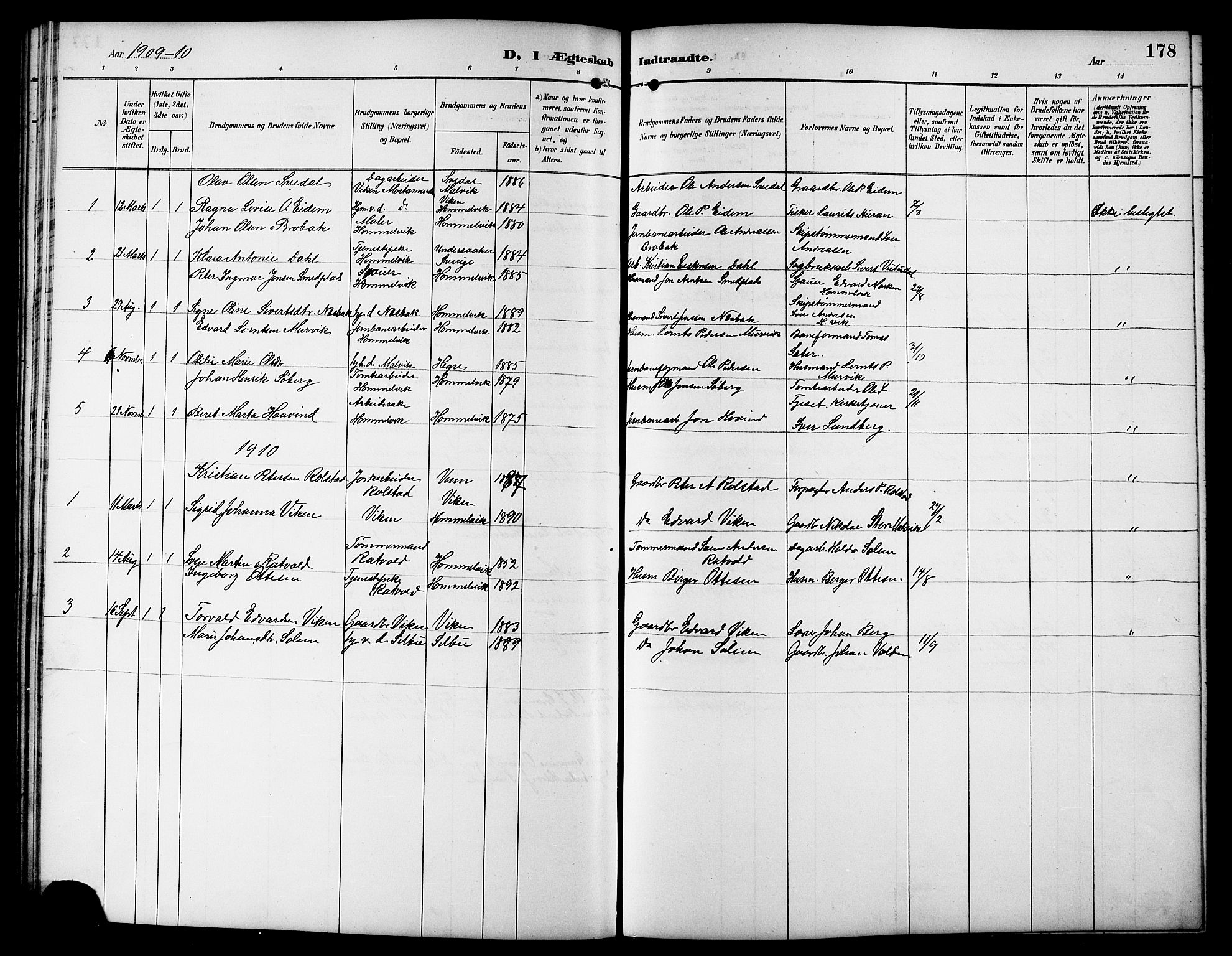 SAT, Ministerialprotokoller, klokkerbøker og fødselsregistre - Sør-Trøndelag, 617/L0431: Klokkerbok nr. 617C01, 1889-1910, s. 178