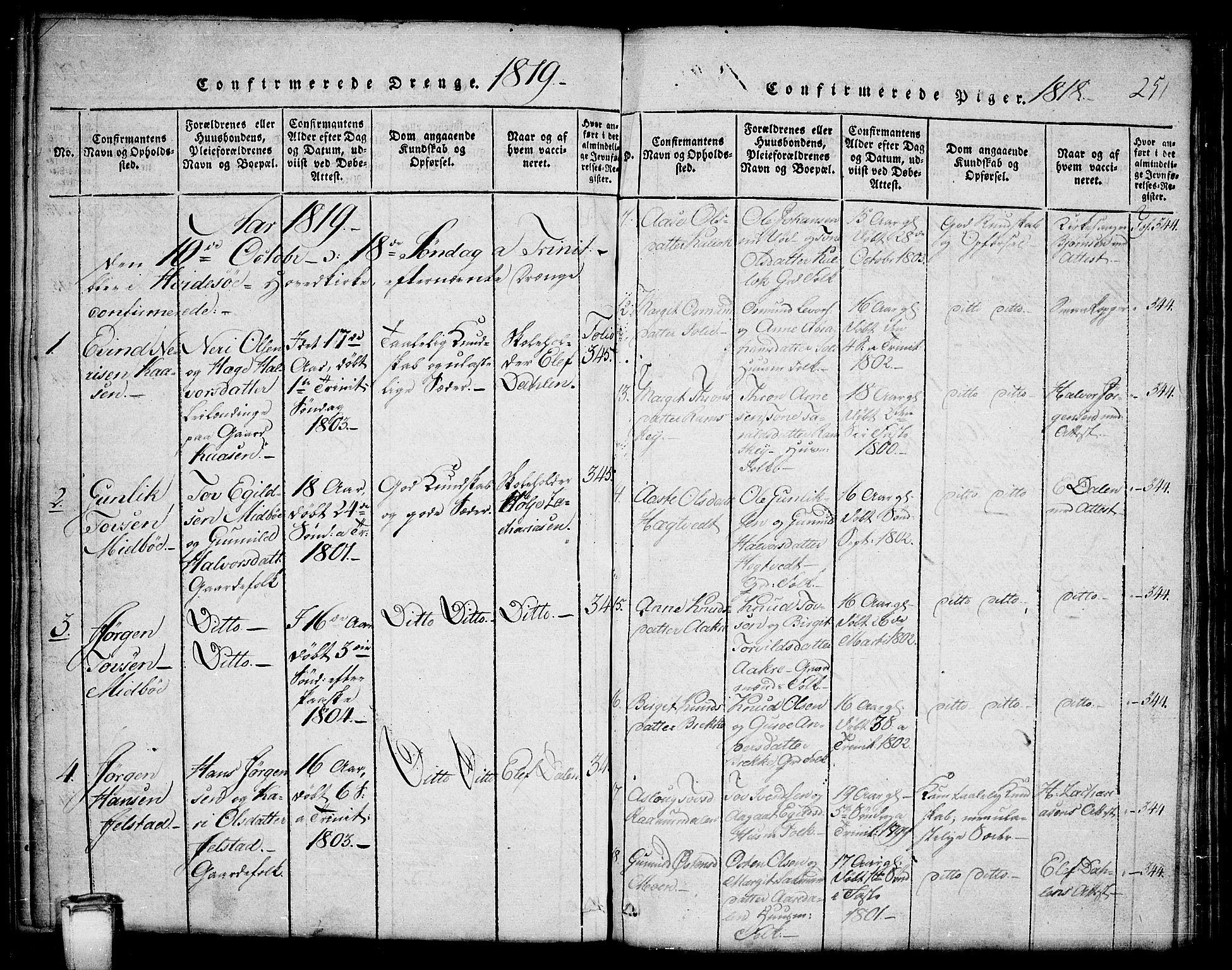 SAKO, Kviteseid kirkebøker, G/Gb/L0001: Klokkerbok nr. II 1, 1815-1842, s. 251