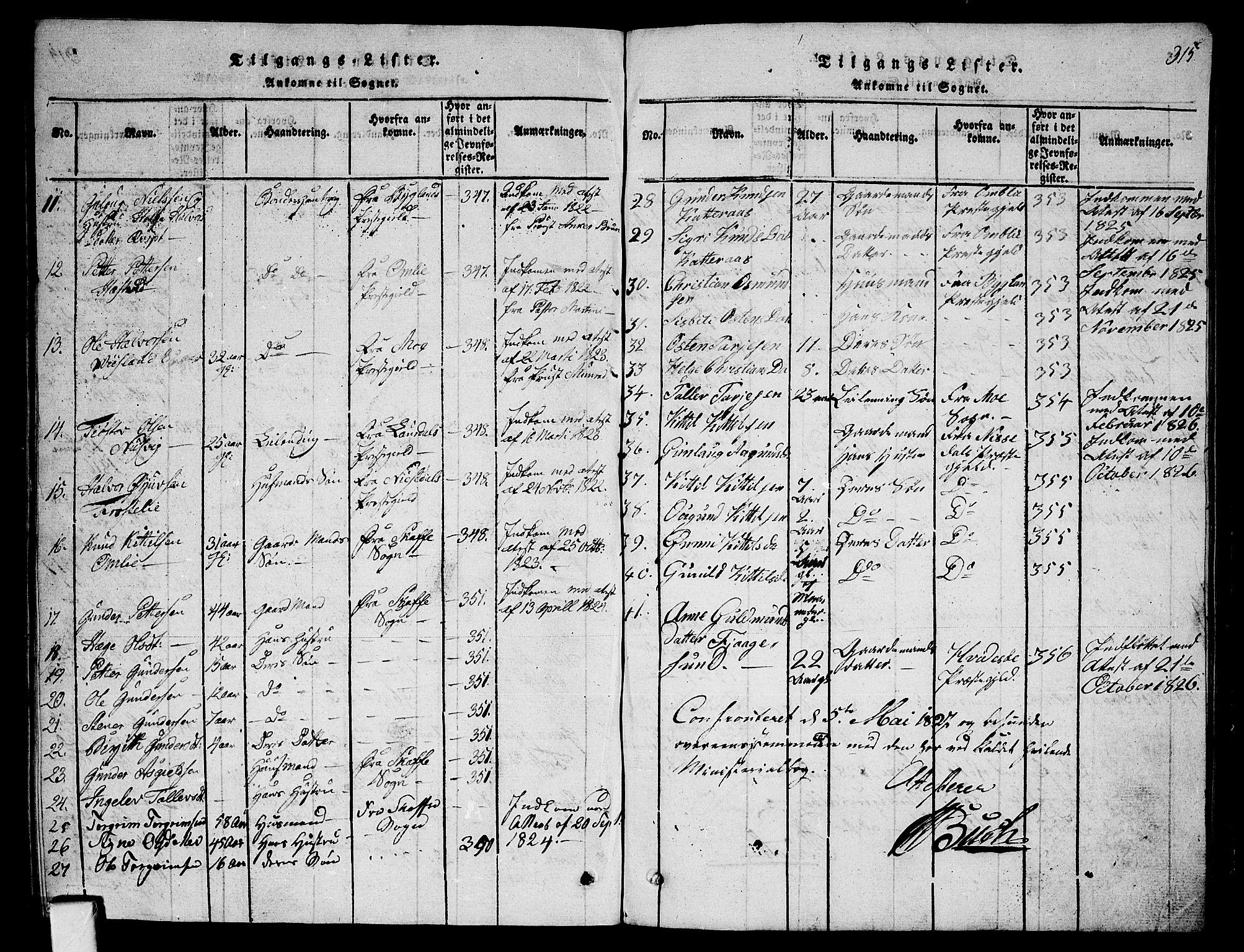 SAKO, Fyresdal kirkebøker, G/Ga/L0001: Klokkerbok nr. I 1, 1816-1840, s. 315