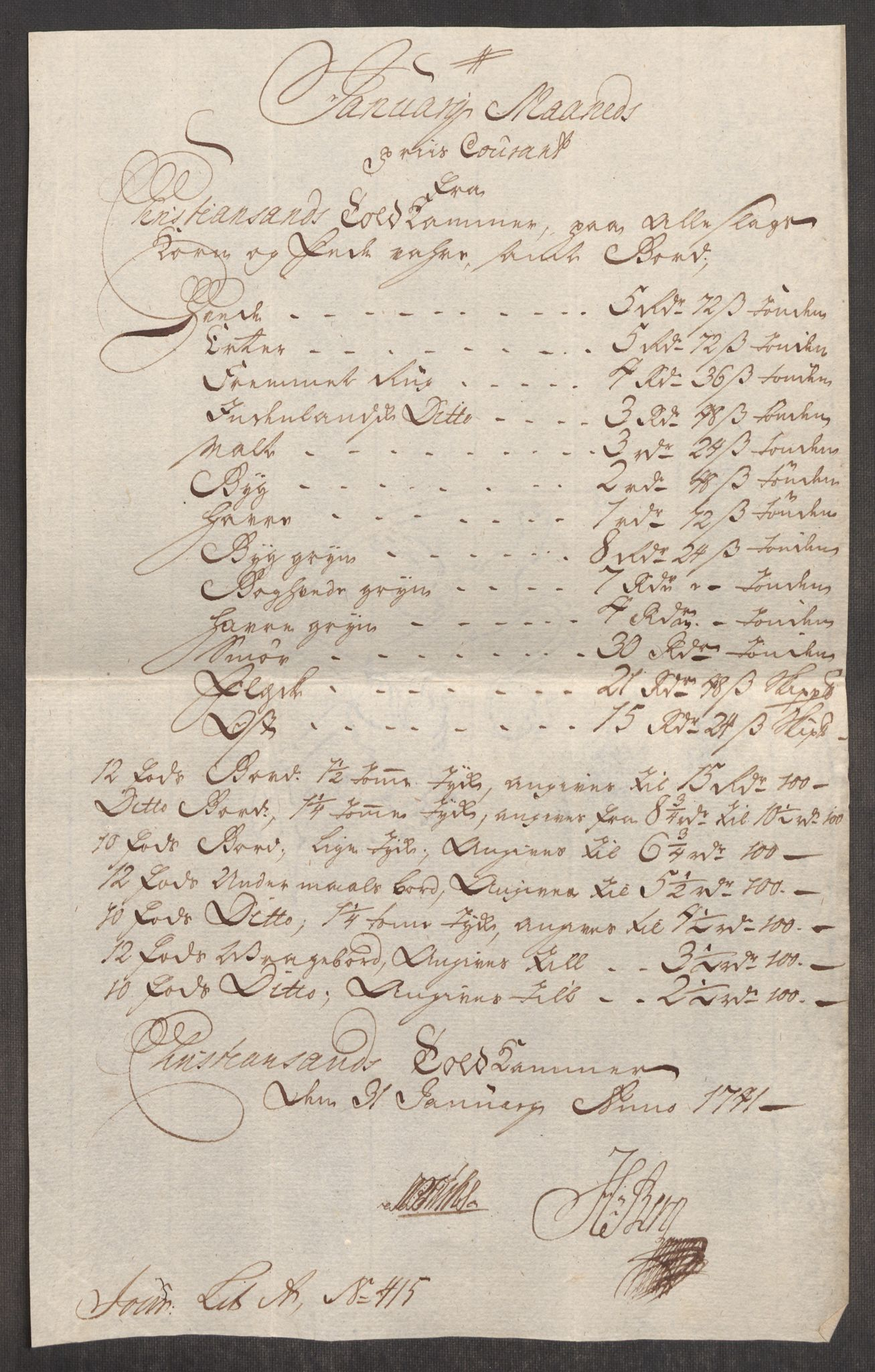 RA, Rentekammeret inntil 1814, Realistisk ordnet avdeling, Oe/L0002: [Ø1]: Priskuranter, 1740-1744, s. 361